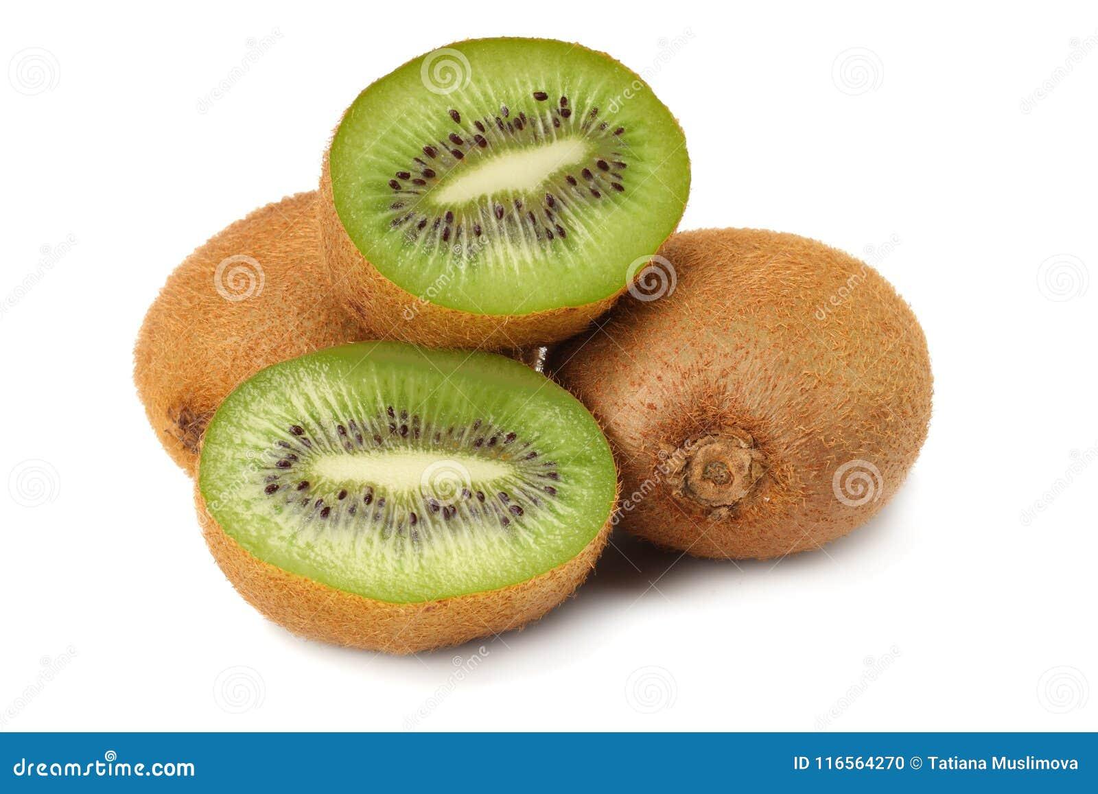 Gesunde Nahrung Kiwifrucht getrennt auf weißem Hintergrund