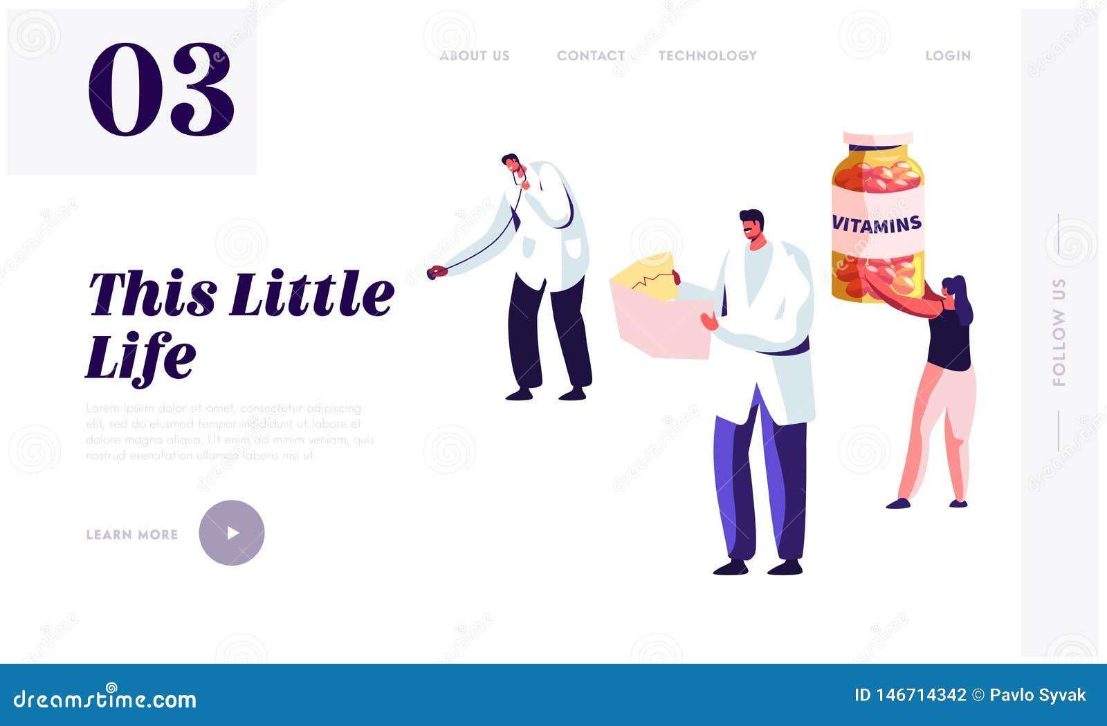 Gesunder Lebensstil, Gesundheitswesen-Website-Landungs-Seiten-Schablone Doktor Holding Stethoscope und Krankenschwester Watching