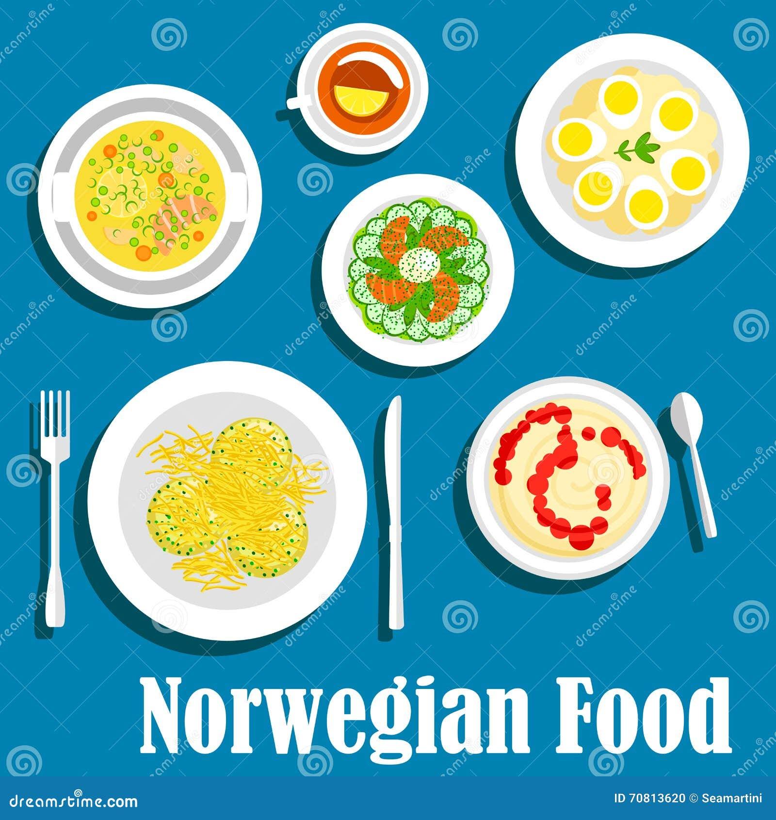 gesundes frühstück der flachen ikone der norwegischen küche vektor