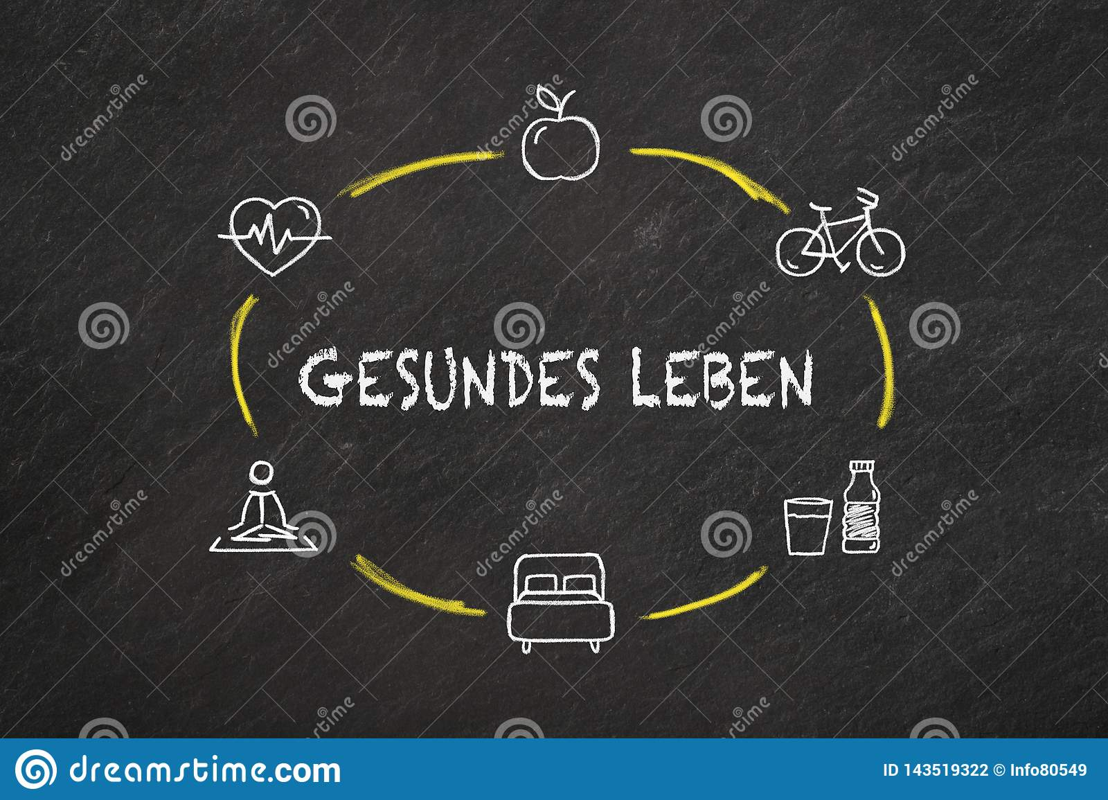 `Gesundes Leben` text and icons on a blackboard. Translation `Healthy life`