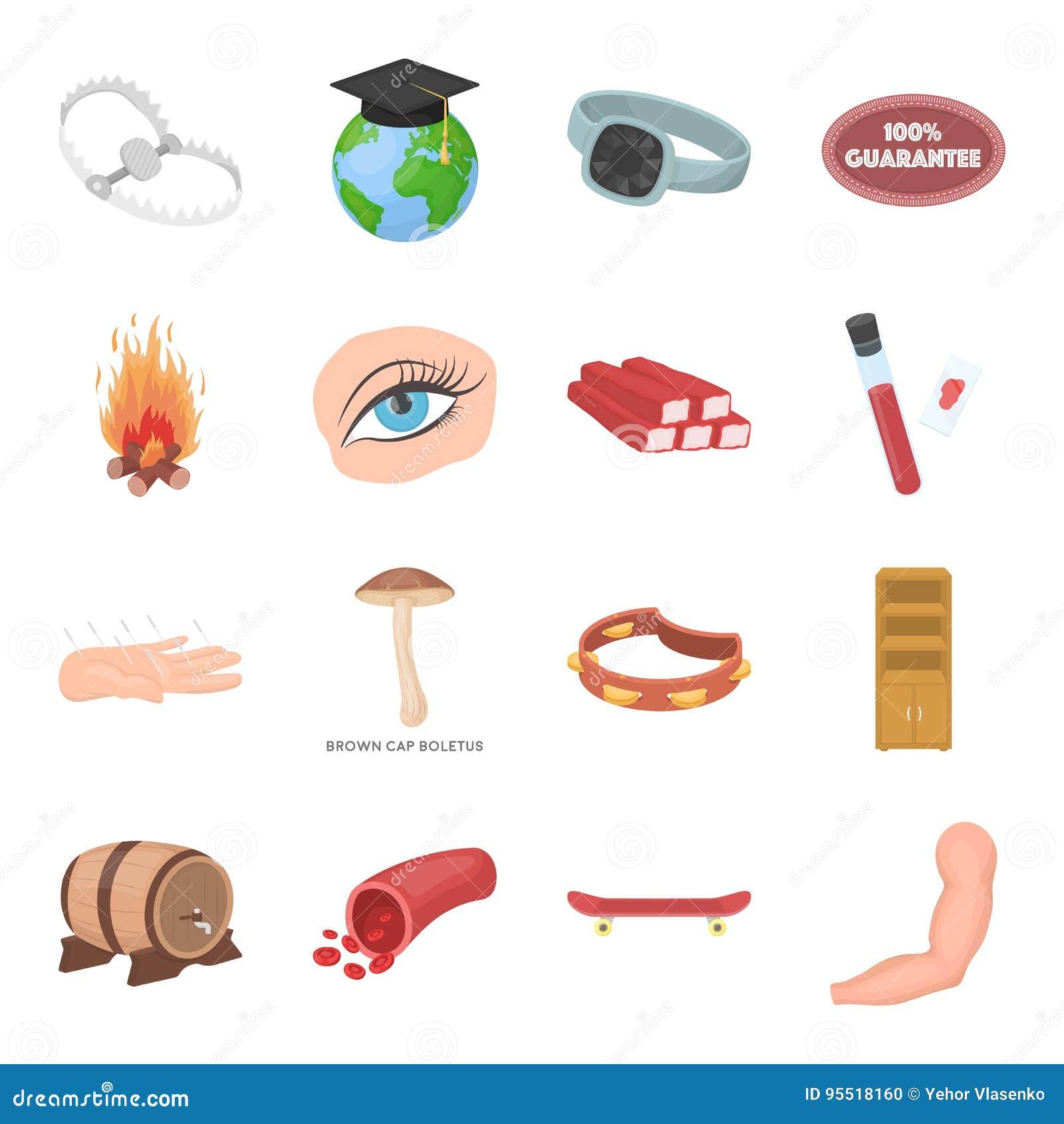 Gesundheit, Schönheit, Lebensmittel und andere Netzikone in der Karikaturart Jagd, Unterhaltung, Service-Ikonen in der Satzsammlu