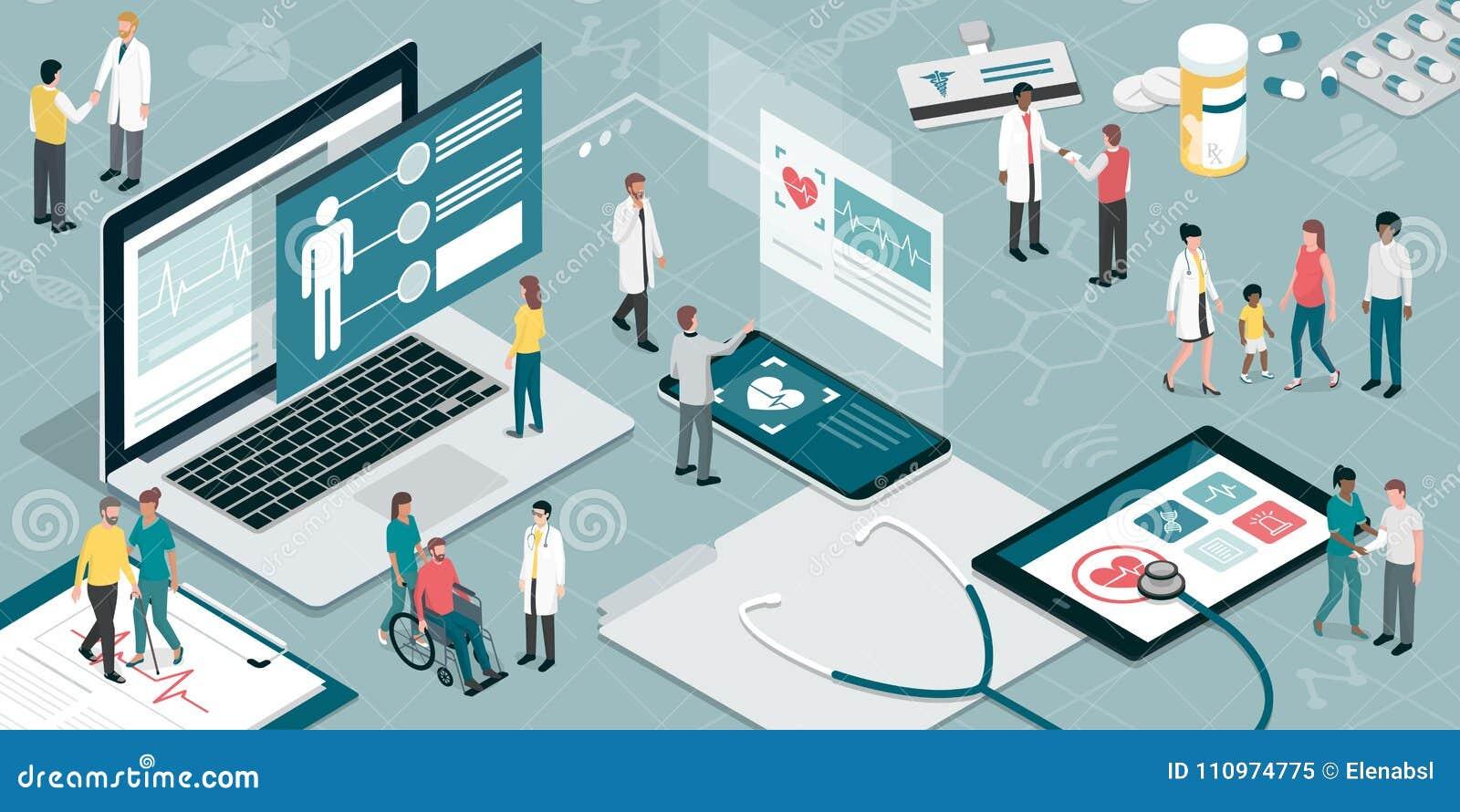 Gesundheitswesen Und Technologie Vektor Abbildung - Illustration von ...