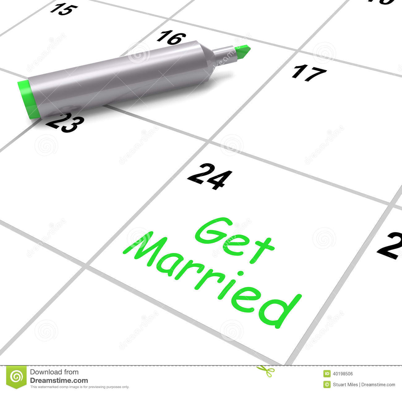 Get Married Calendar Means Wedding Day And Stock