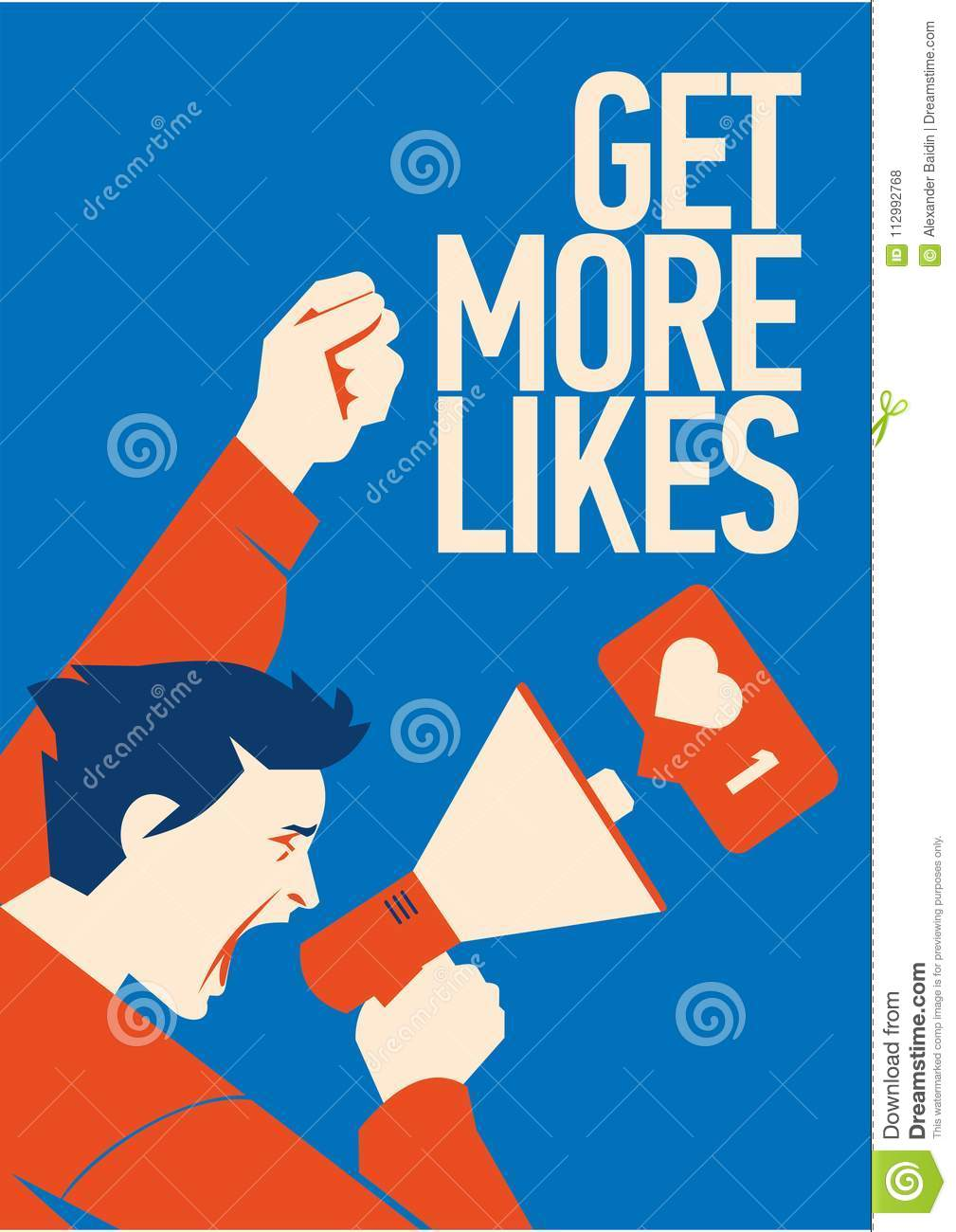 Get more likes Announcement. Man Holding Megaphone With Speech Bubble.