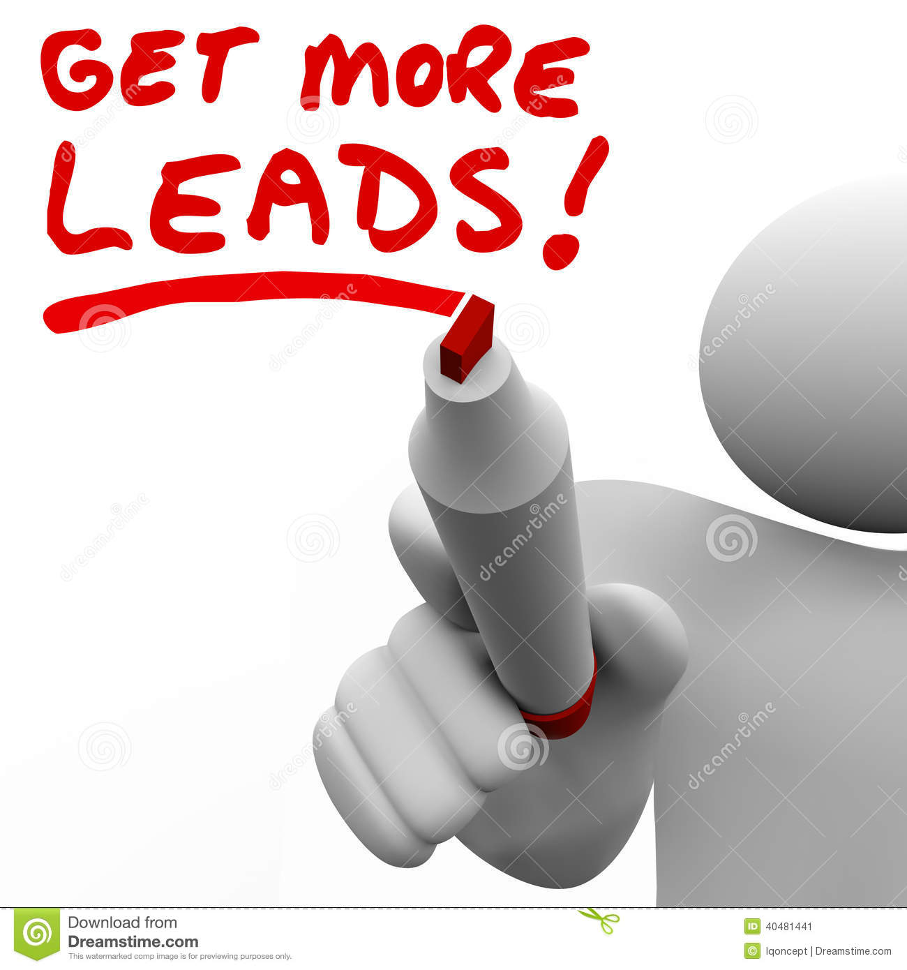 get more sales leads salesman writing words increase selling stock