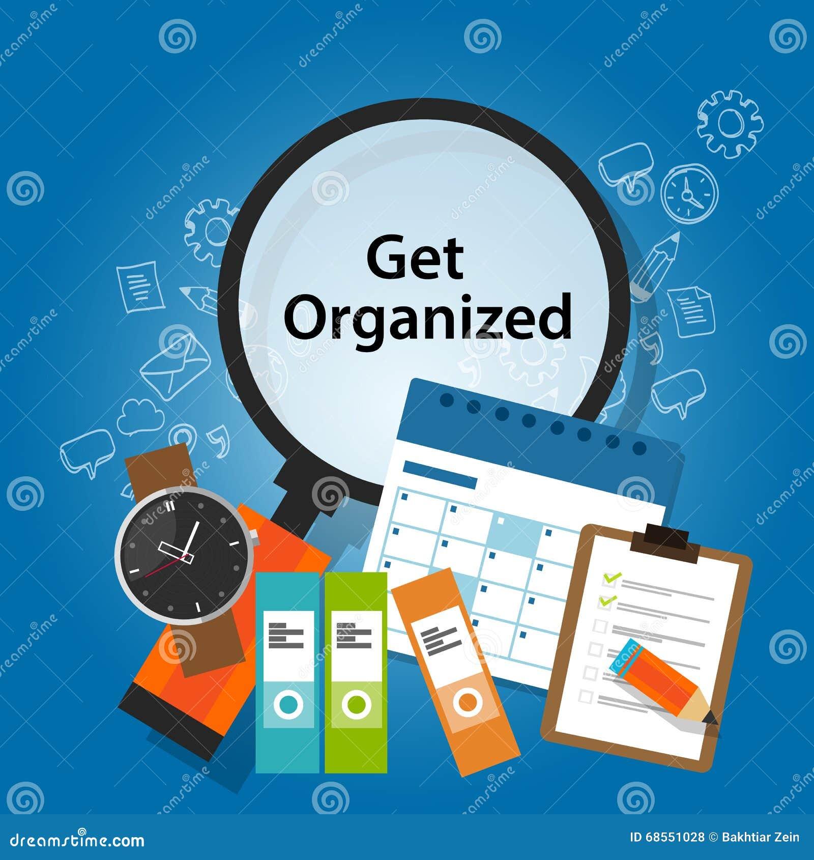Get organizou o lembrete de organização da produtividade do conceito do negócio do horário