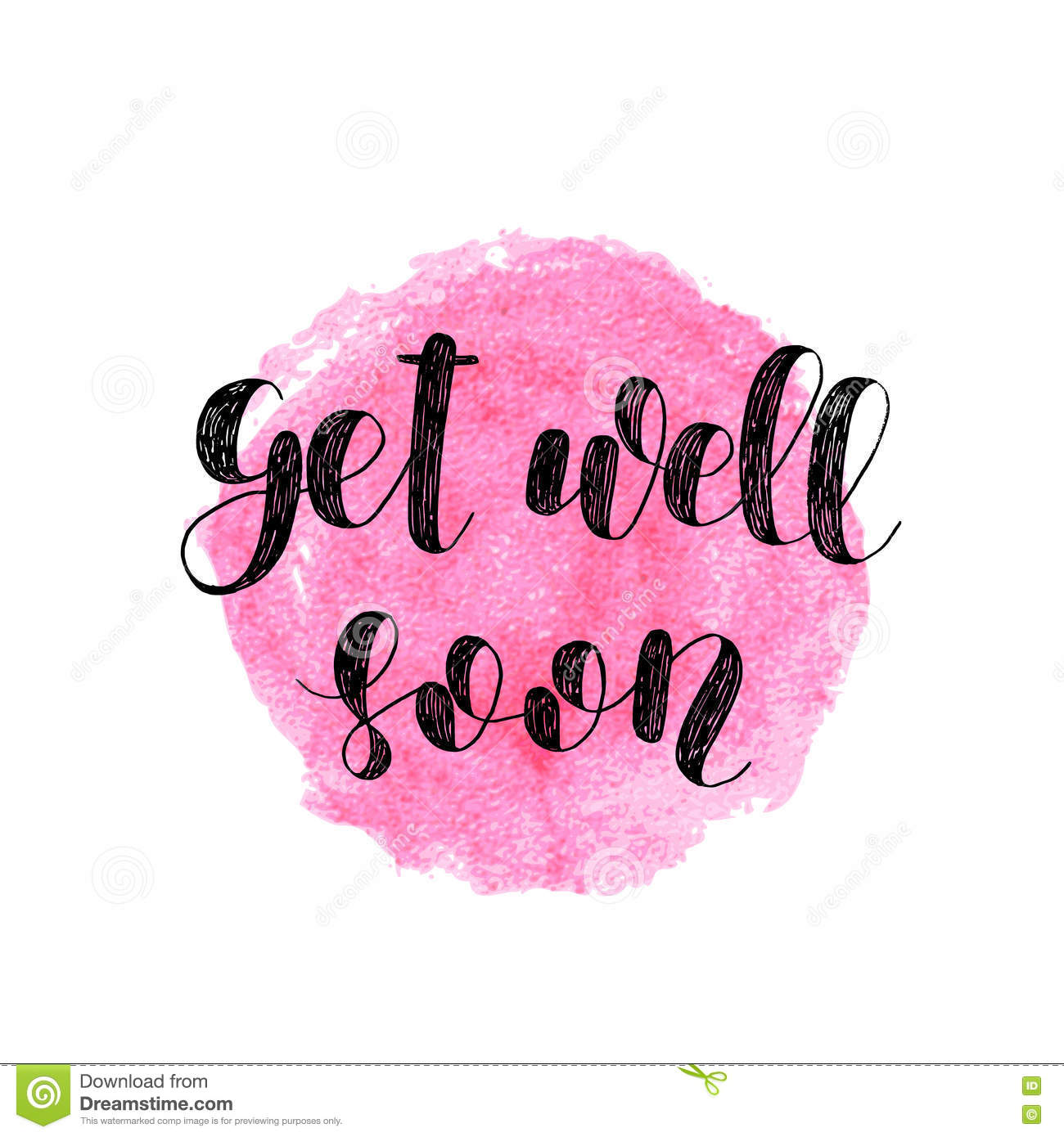 get well soon brush lettering stock vector illustration of