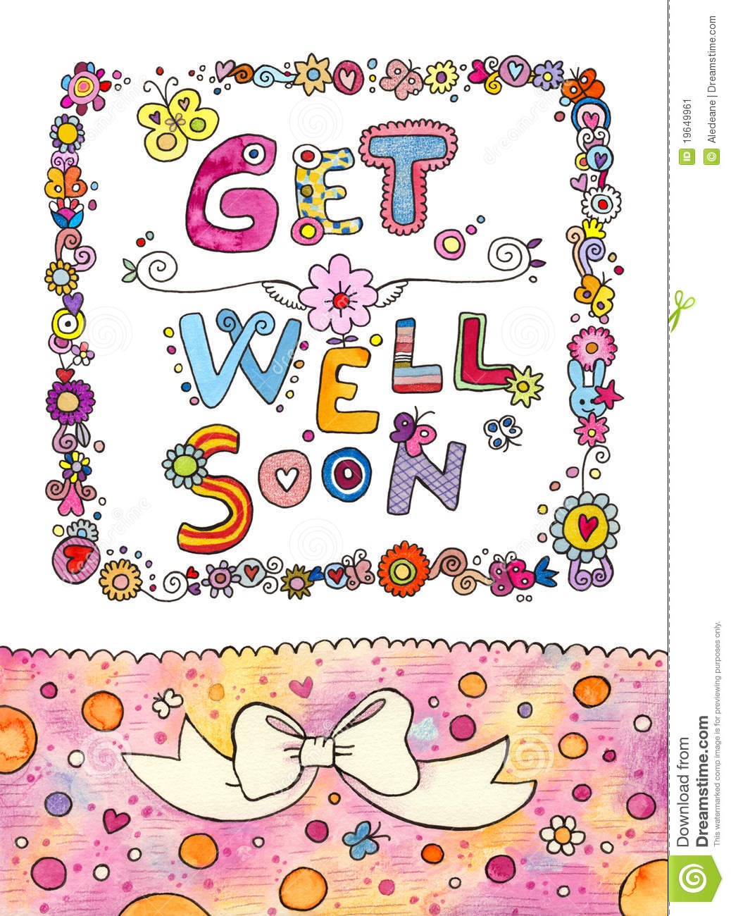 Get Well Soon Card Stock Illustration Illustration Of Cute 19649961
