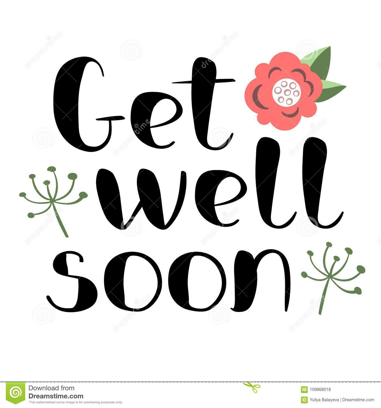 get well soon card stock vector illustration of typographic 109868018