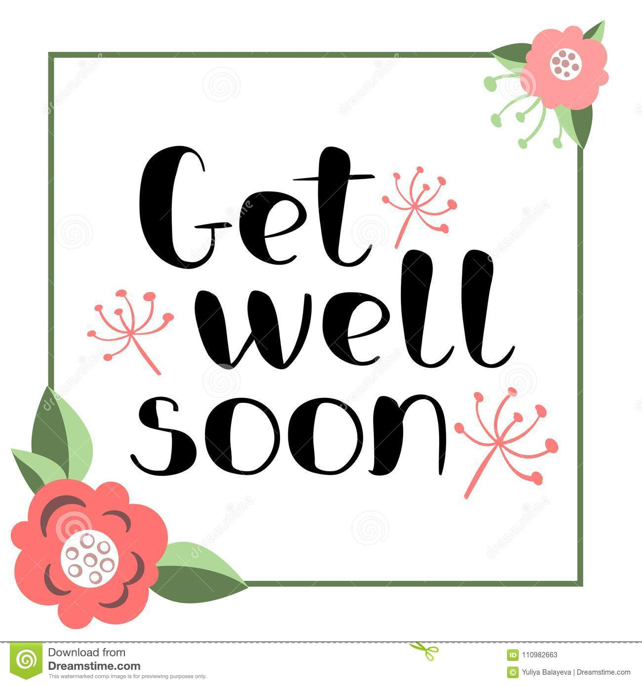 get well soon card stock vector illustration of phrase 110982663