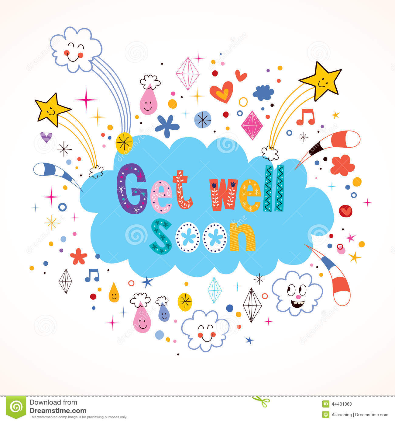 Get Well Soon Card Stock Vector Illustration Of Graphic 44401368