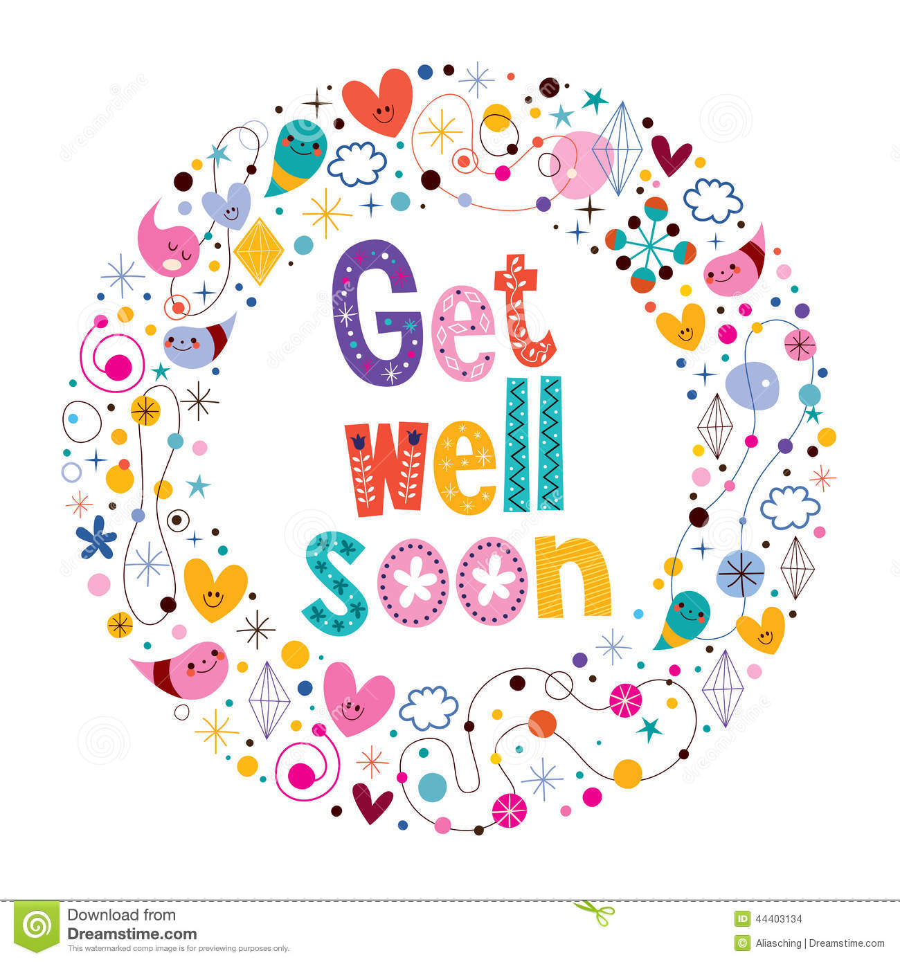 Get Well Soon Card Stock Vector Illustration Of Group 44403134