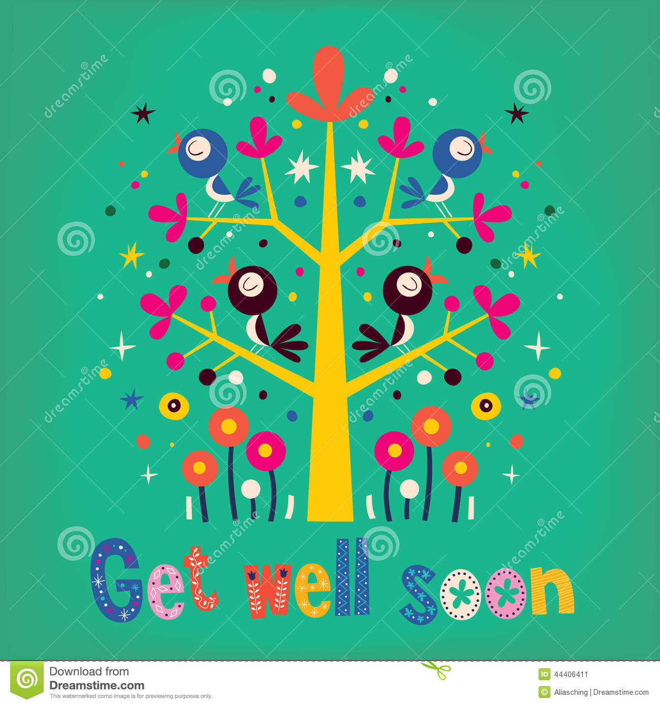 Get Well Soon Card Stock Vector Illustration Of Flower 44406411