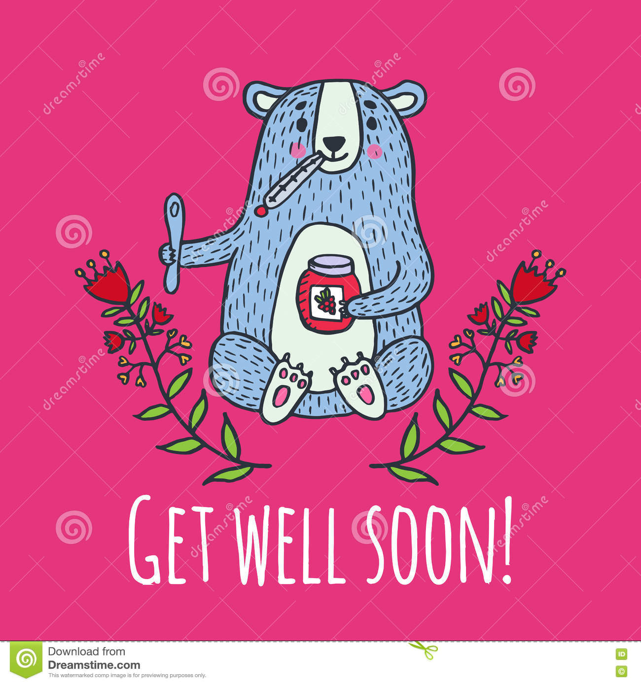 Get Well Soon Card With Teddy Bear And Jam Stock Illustration