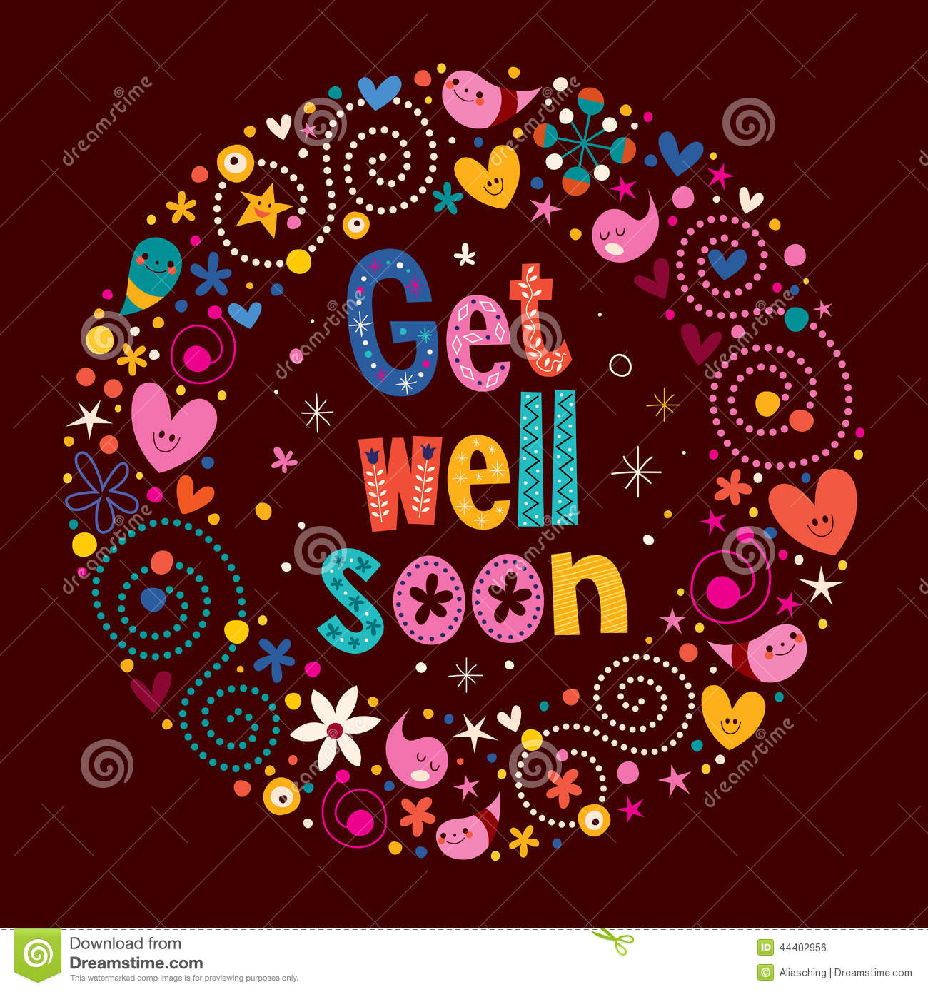 Get Well Soon Stock Vector Illustration Of Friendly 44402956
