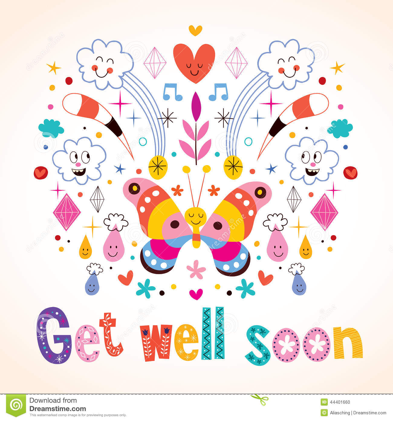 Get Well Soon Greeting Card Stock Vector - Image: 44401660