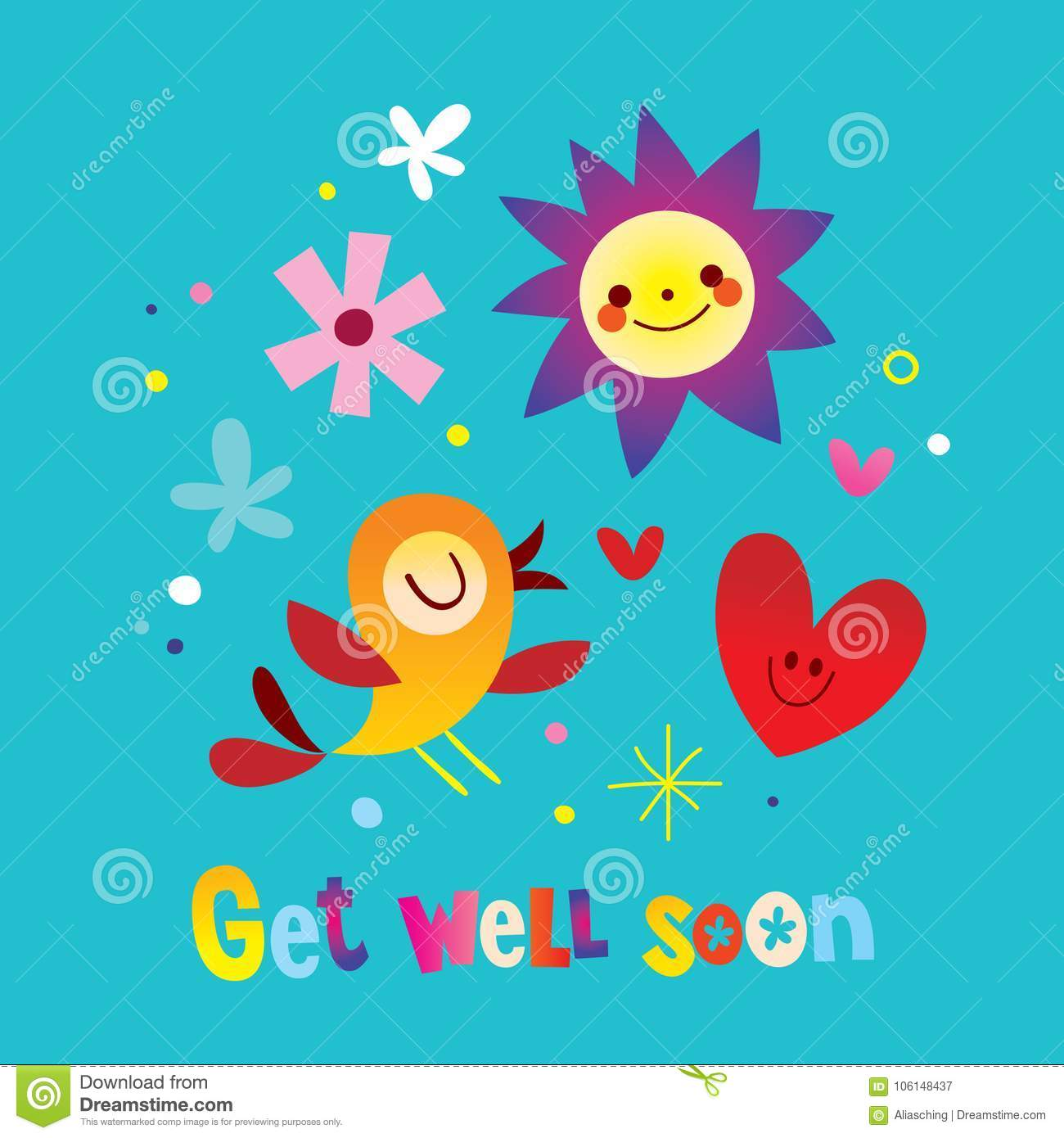 Get Well Soon Stock Vector Illustration Of Greeting 106148437