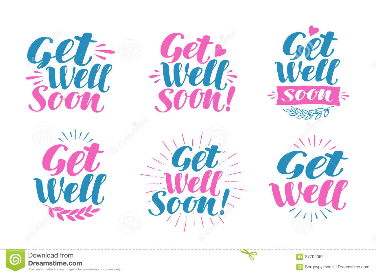 Get Well Soon Greeting Card Visiting Sick Banner Lettering