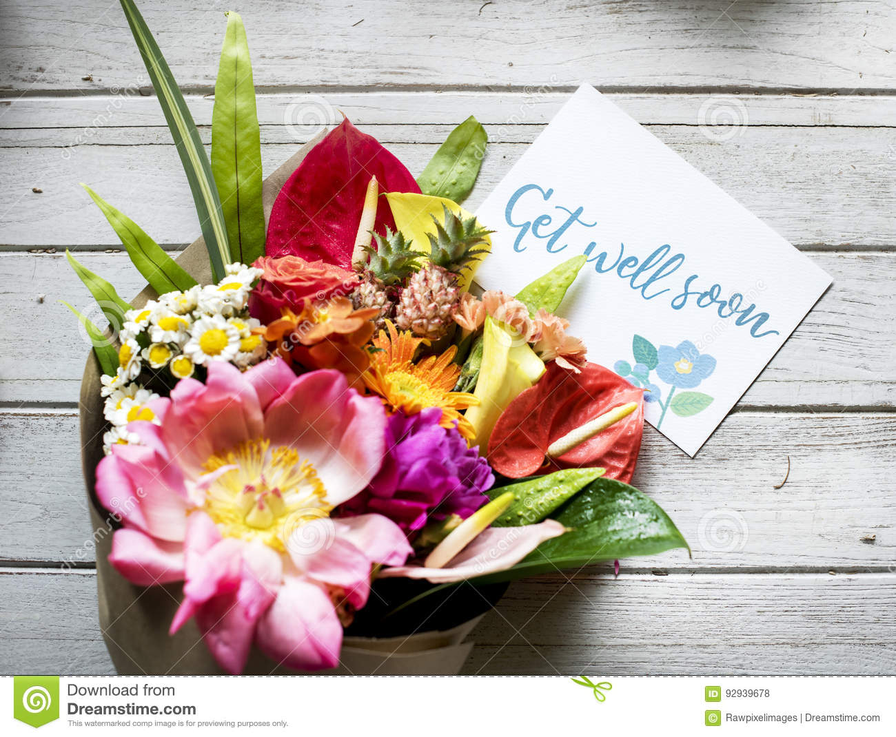 Get well soon message with bouquet stock photo image 92939678 get well soon message with bouquet dhlflorist Images