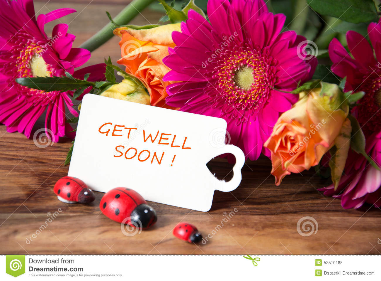 Get well soon stock photo image 53510188 decoration get pink roses soon well dhlflorist Images