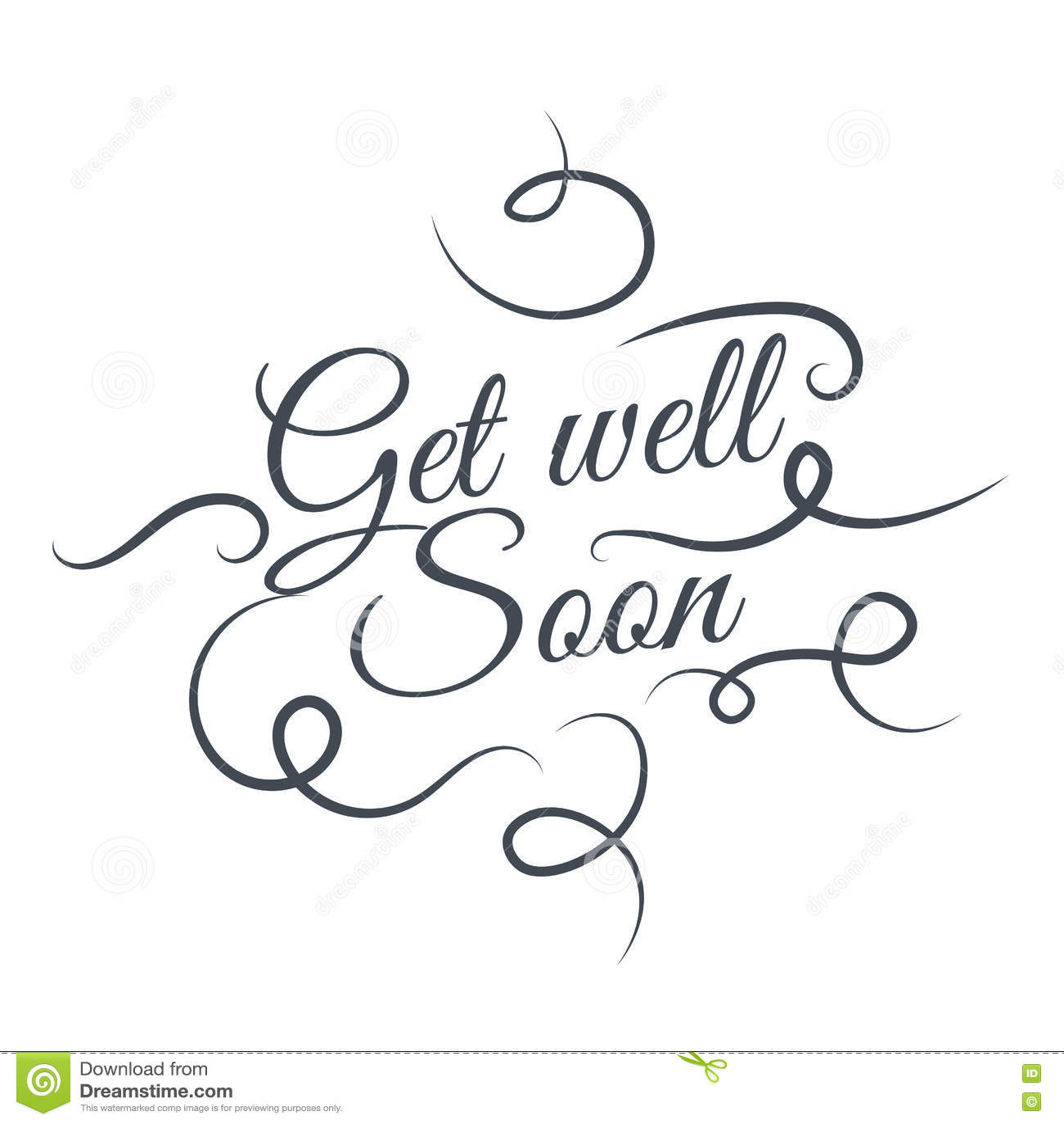 Get Well Soon Brush Lettering RoyaltyFree Stock Photo