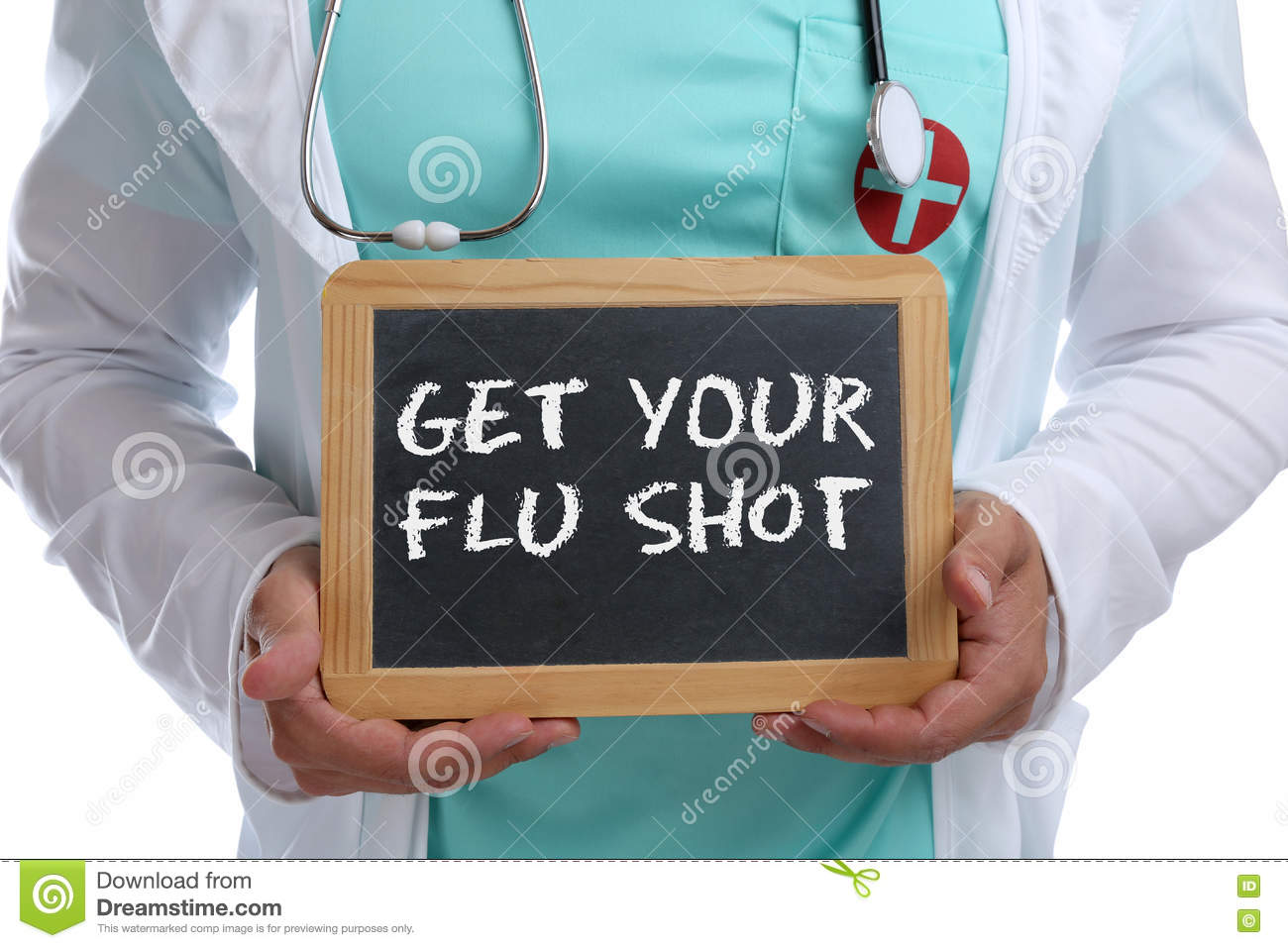Get your flu shot disease ill illness healthy health young doctor