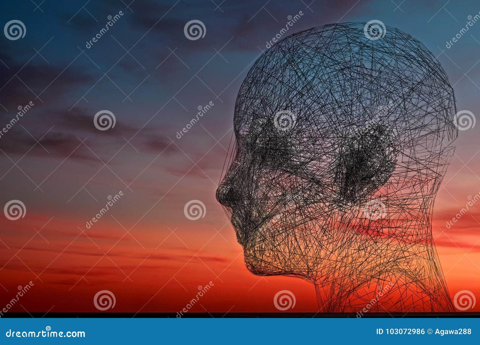 Getelegrafeerd gezicht op de achtergrond van de zonsonderganghemel Psychologie en verbindingsconcept het 3D teruggeven Getelegraf