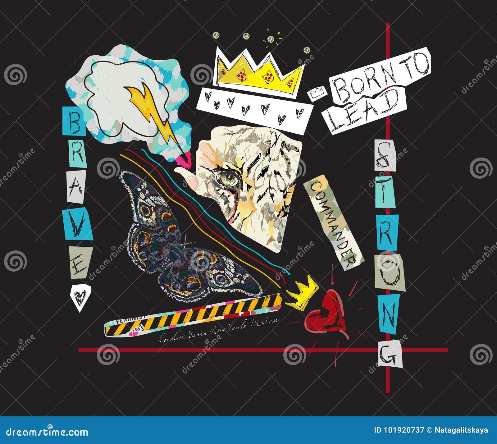 Getragen, Slogan mit Tiger, Krone und Schmetterling zu führen Vector Pop-Arten-Collage für T-Shirt und Druckdesign
