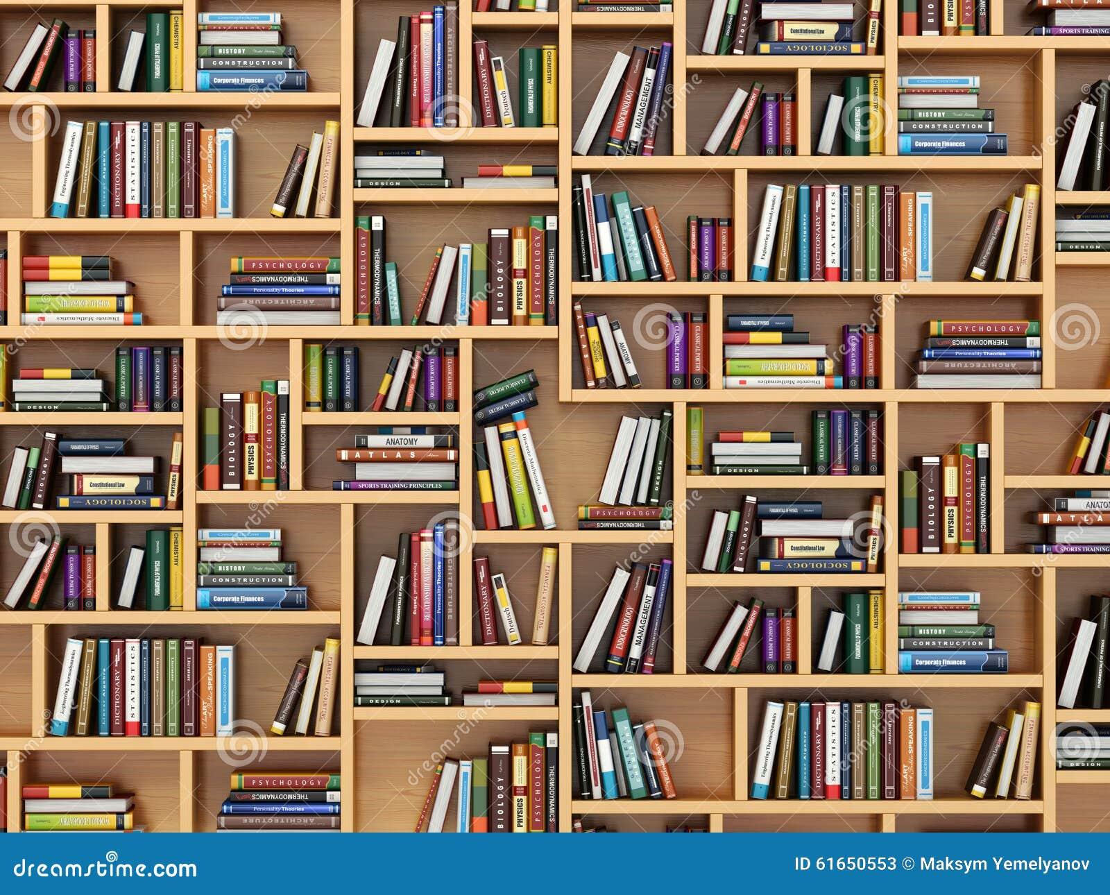 Bücherregal mit büchern  Getrennte Alte Bücher Bücher Und Lehrbücher Auf Dem Bücherregal ...