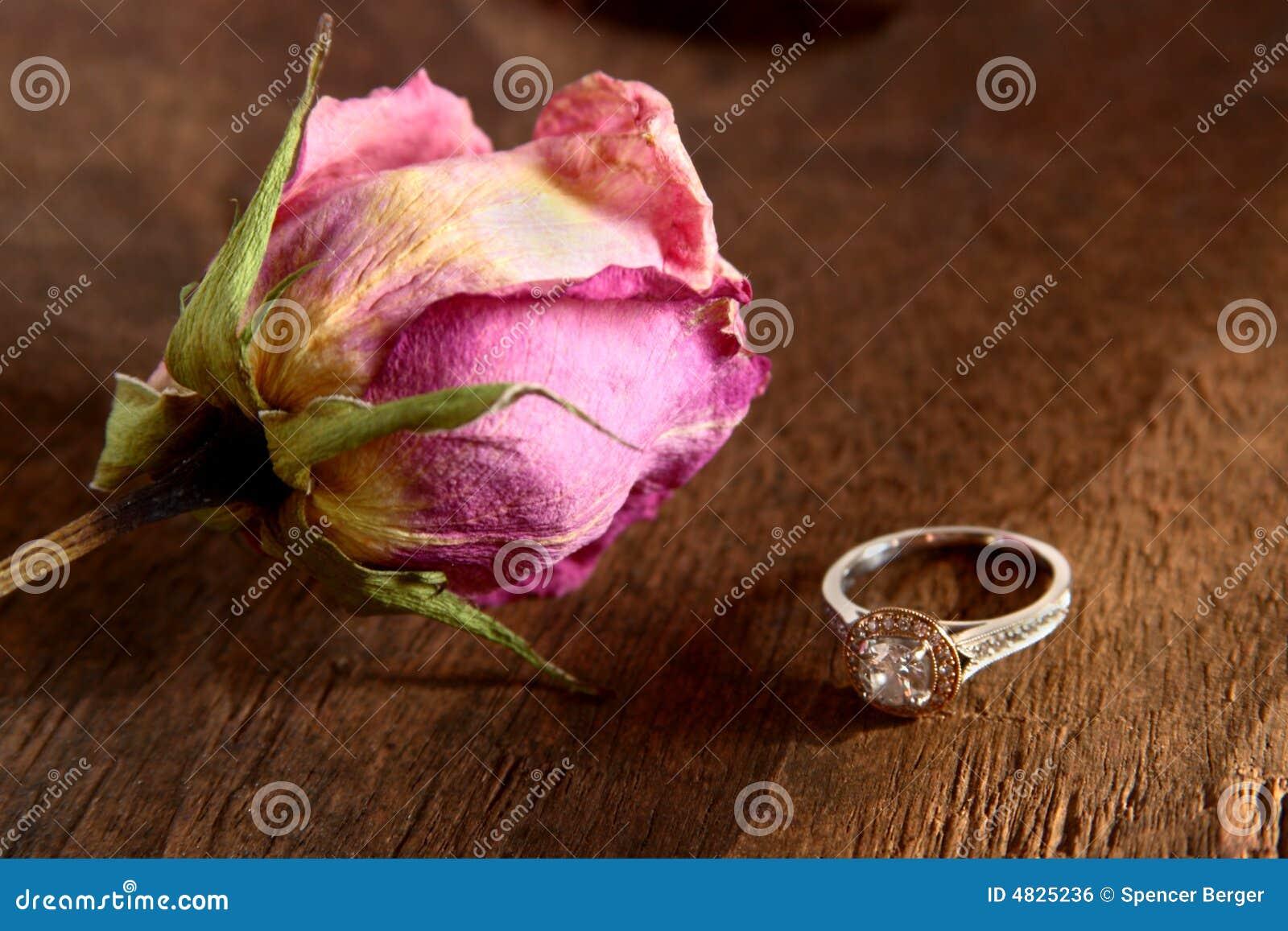 Getrocknete Rose und Diamant-Ring
