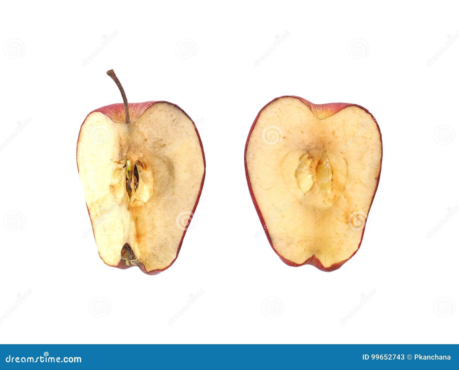 Getrockneter roter Apfel lokalisiert auf weißem Hintergrund