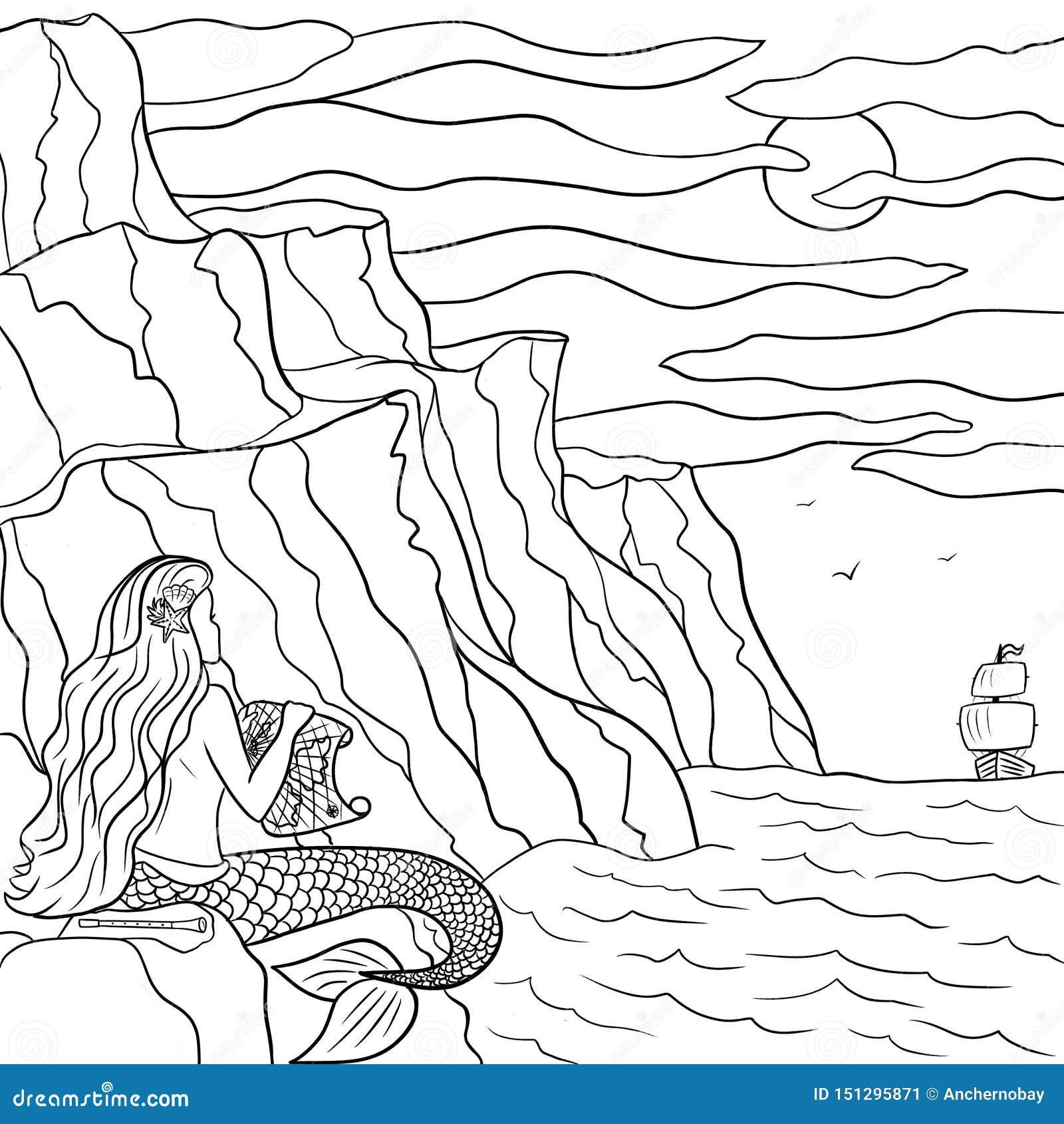 Getrokken de schets dromerige meermin van de lijnkunst hand op de steen en zeilboot in het overzees Kleurende overzichtsillustrat