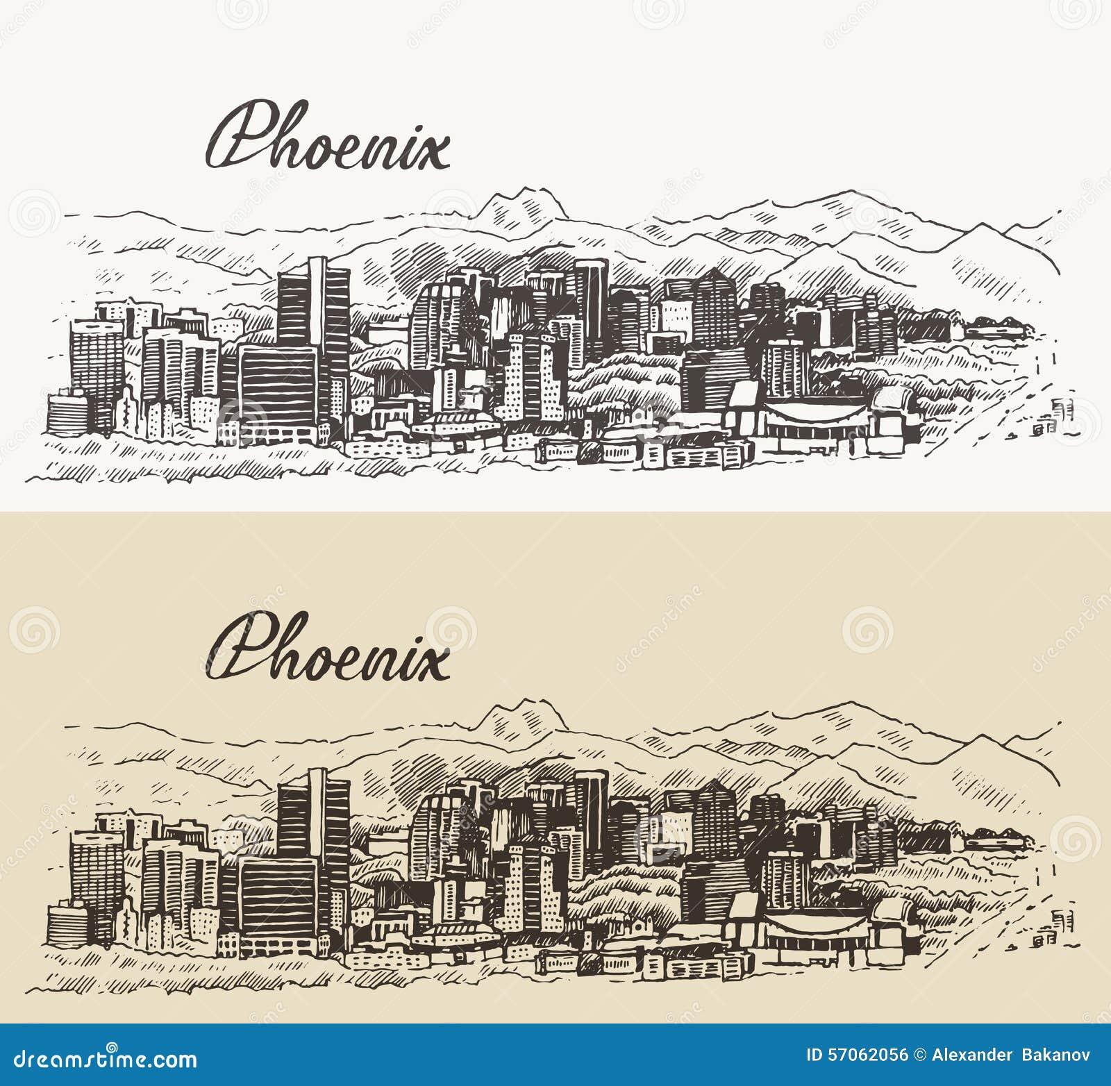 Getrokken hand van de de horizon de vectorillustratie van Phoenix