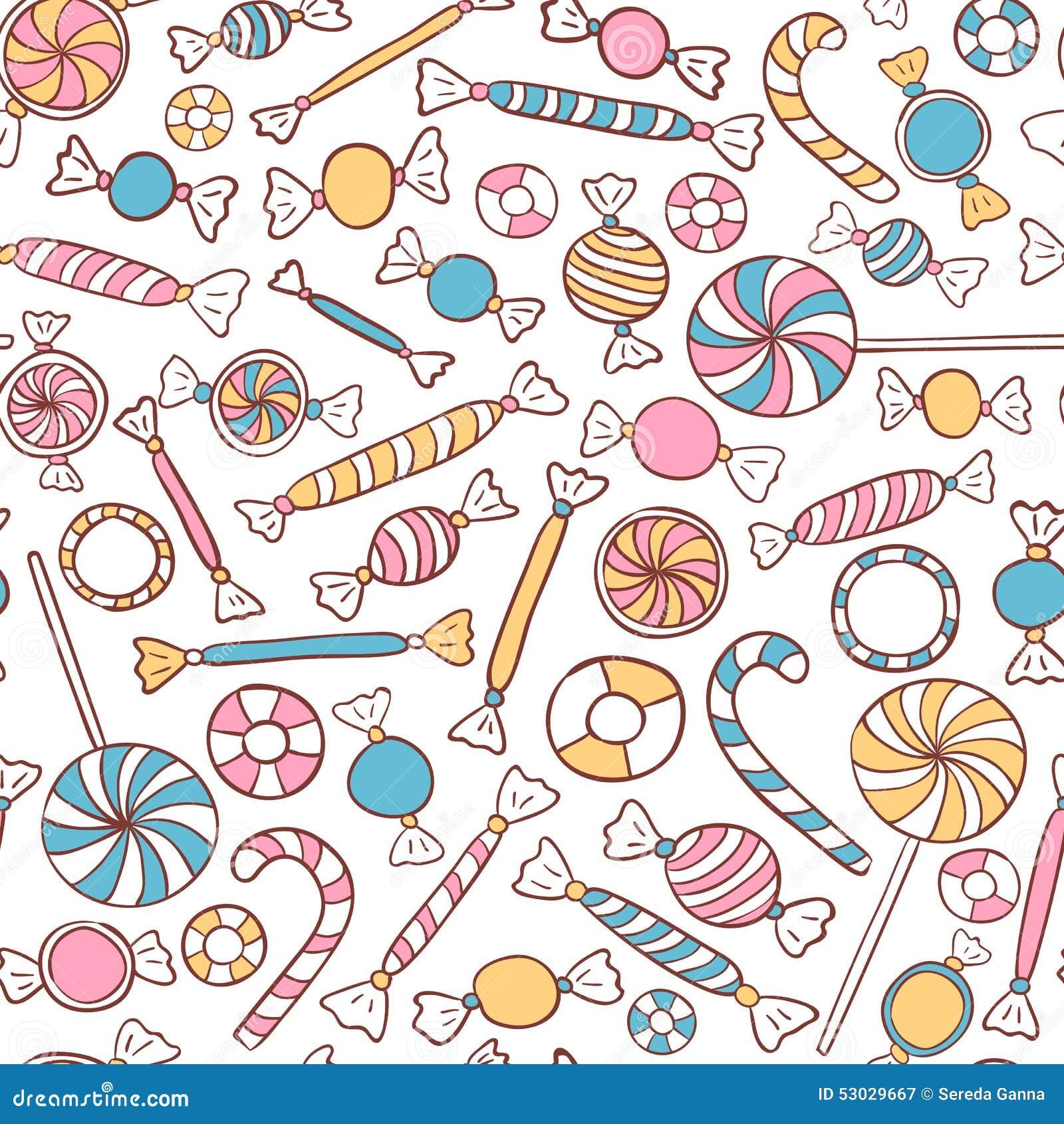 Getrokken Hand van het suikergoed de Naadloze Patroon