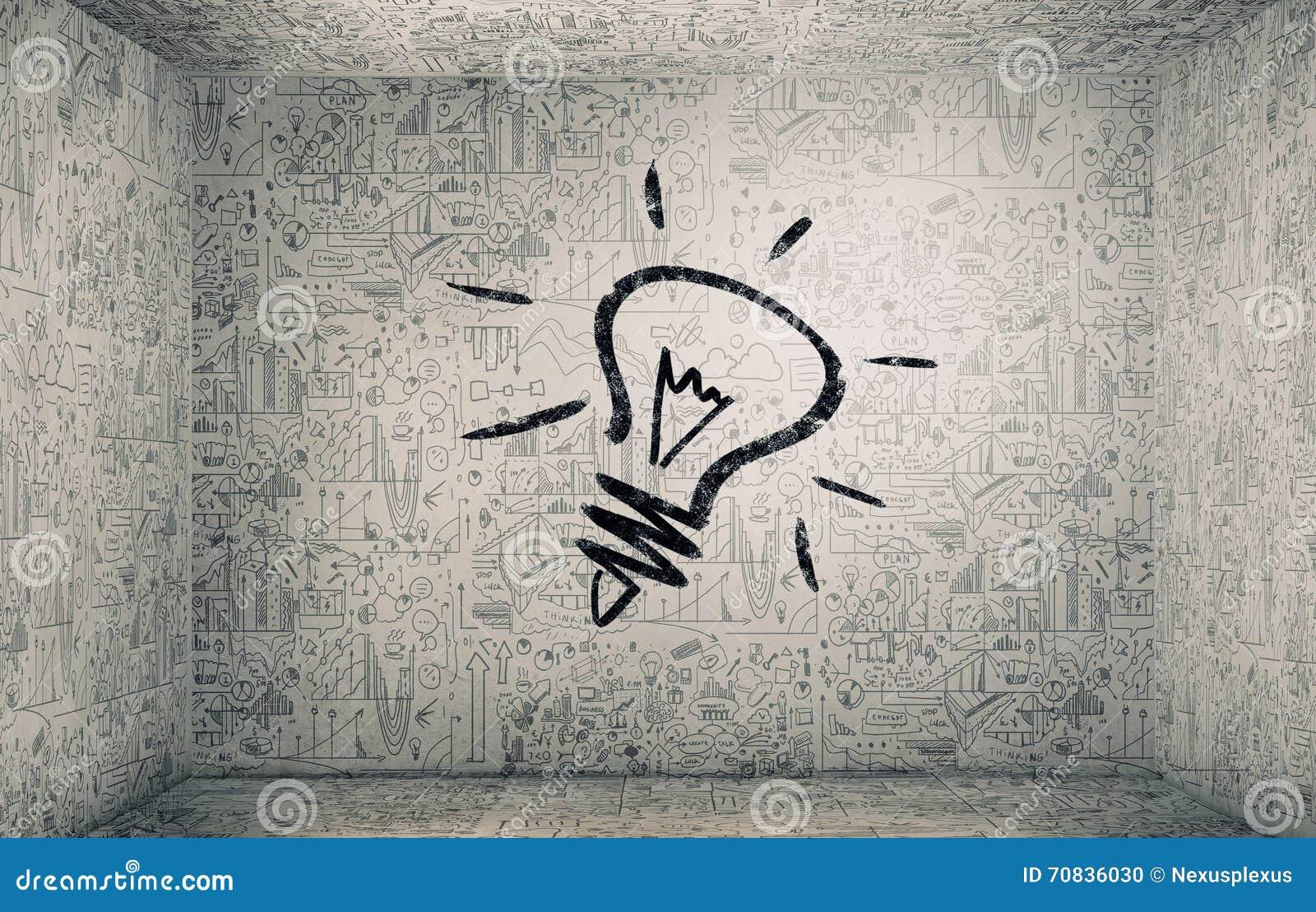 Getrokken ideeën op muur stock foto   afbeelding: 70836030