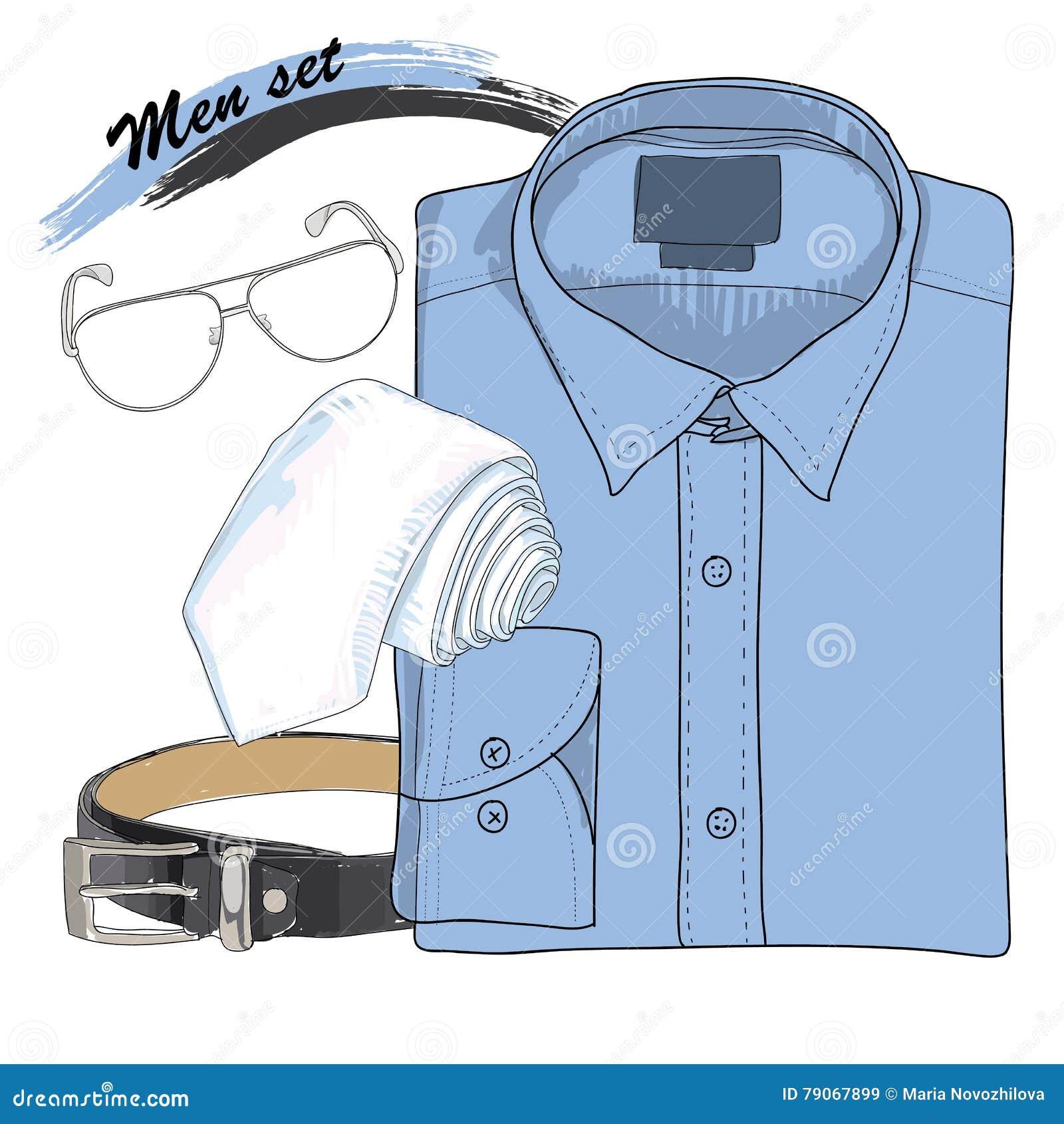 Het Overhemd.Getrokken Illustratie Van Hand Het Overhemd Van De