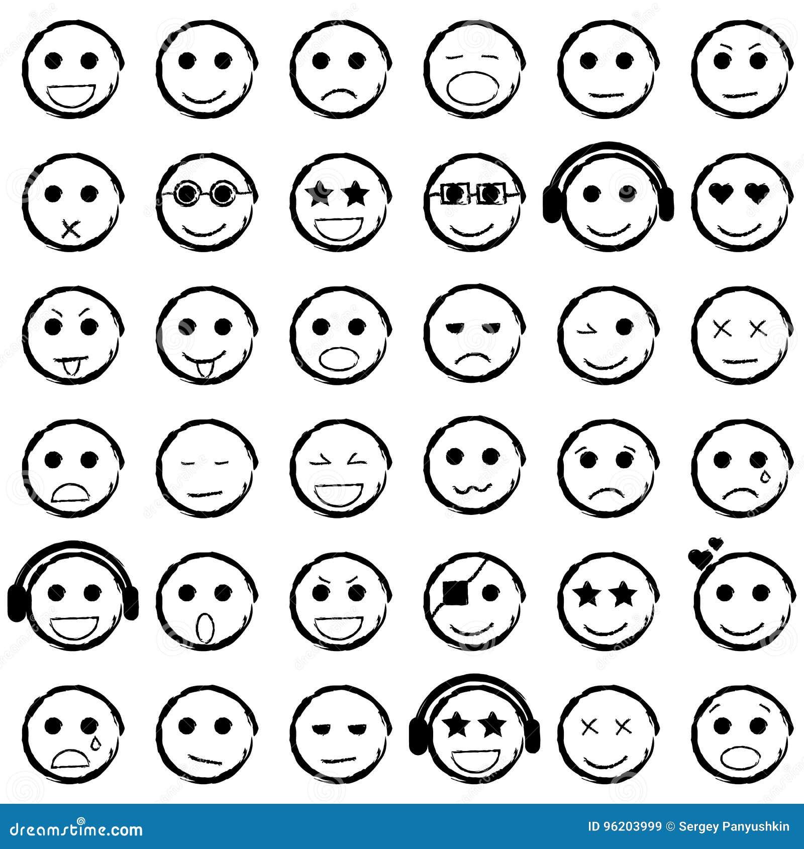 Image Sawamura Angry Png: Getrokken Reeks Van Emoticons-hand De Pictogrammen Van