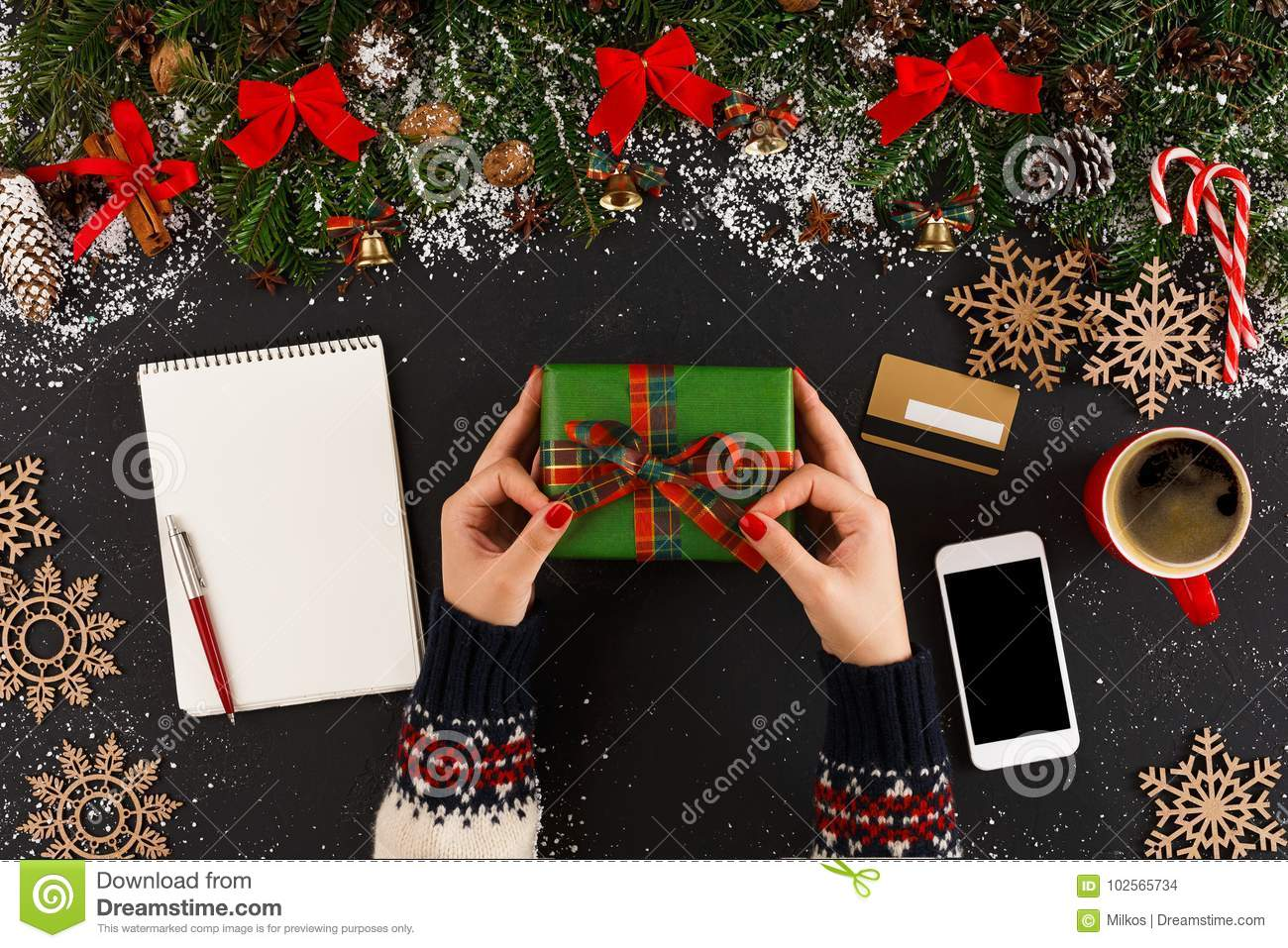 getting online delivery of christmas gift stock photo image of
