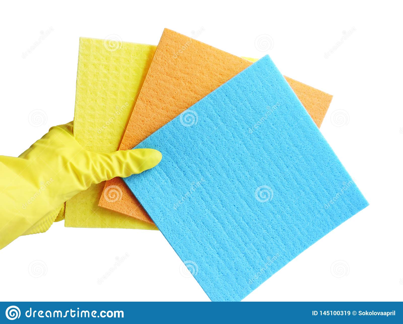 Getting started cleaning. Yellow rubber gloves for cleaning on white background .General or regular cleanup.