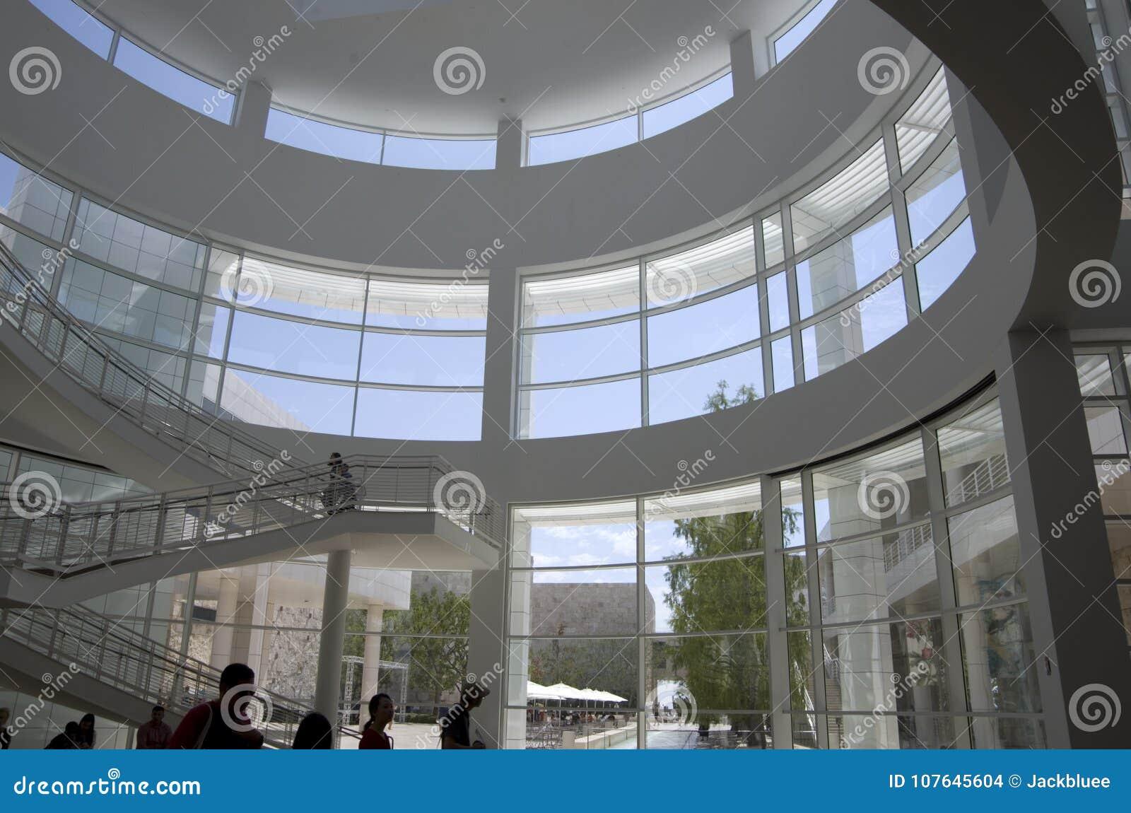 Getty Muzeum Lobby Wnętrza Stropuje Naturalnego Oświetlenie