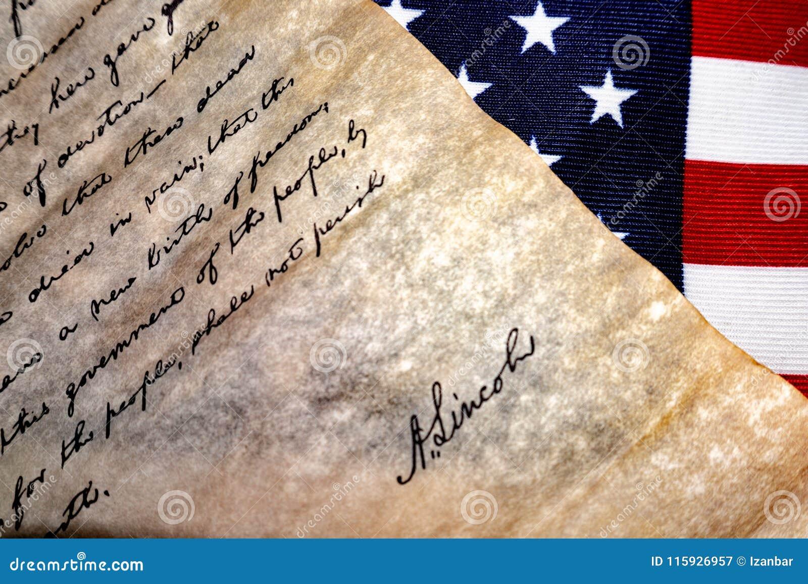 Gettysburg adressanförande vid U S Abraham Lincoln president