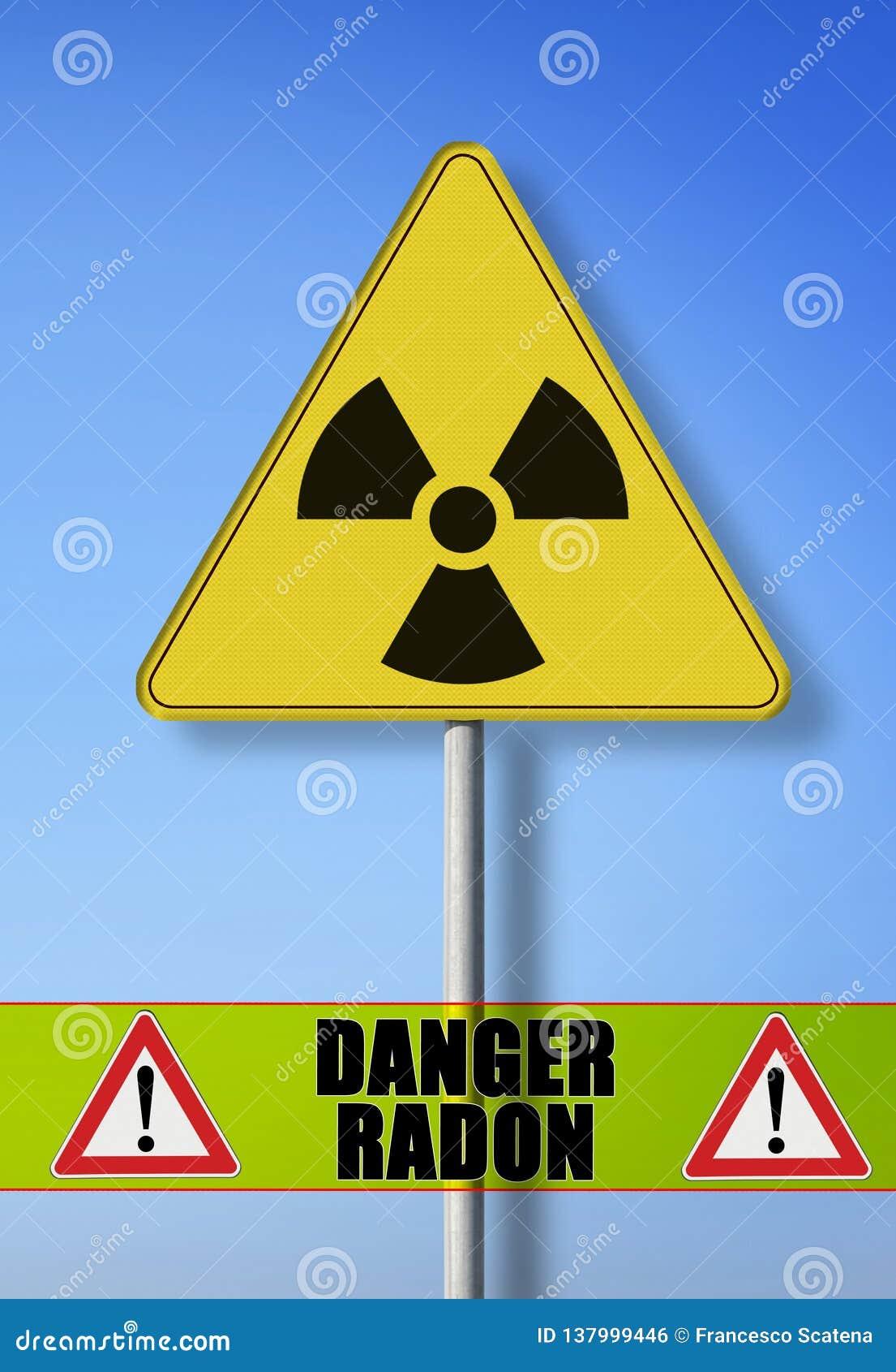 Gevaar van radioactieve besmetting van gasradon - conceptenbeeld