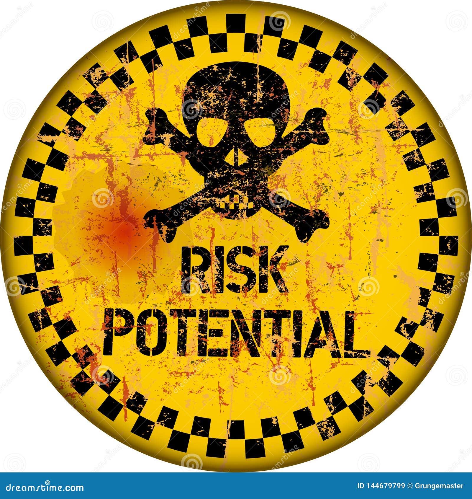 Gevaar, versleten en grungy risicowaarschuwingsbord, vector
