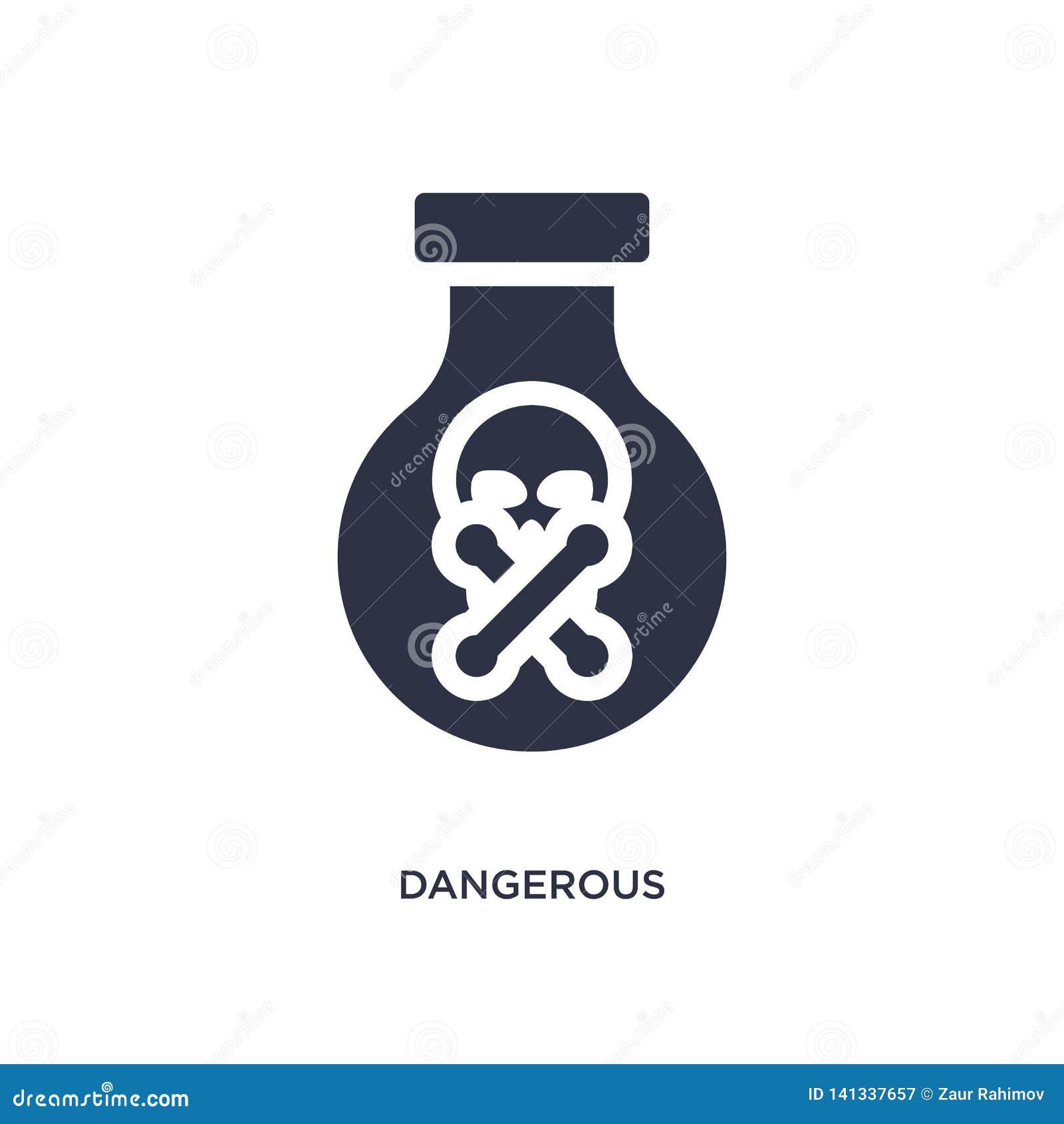 Gevaarlijk pictogram op witte achtergrond Eenvoudige elementenillustratie van chemieconcept