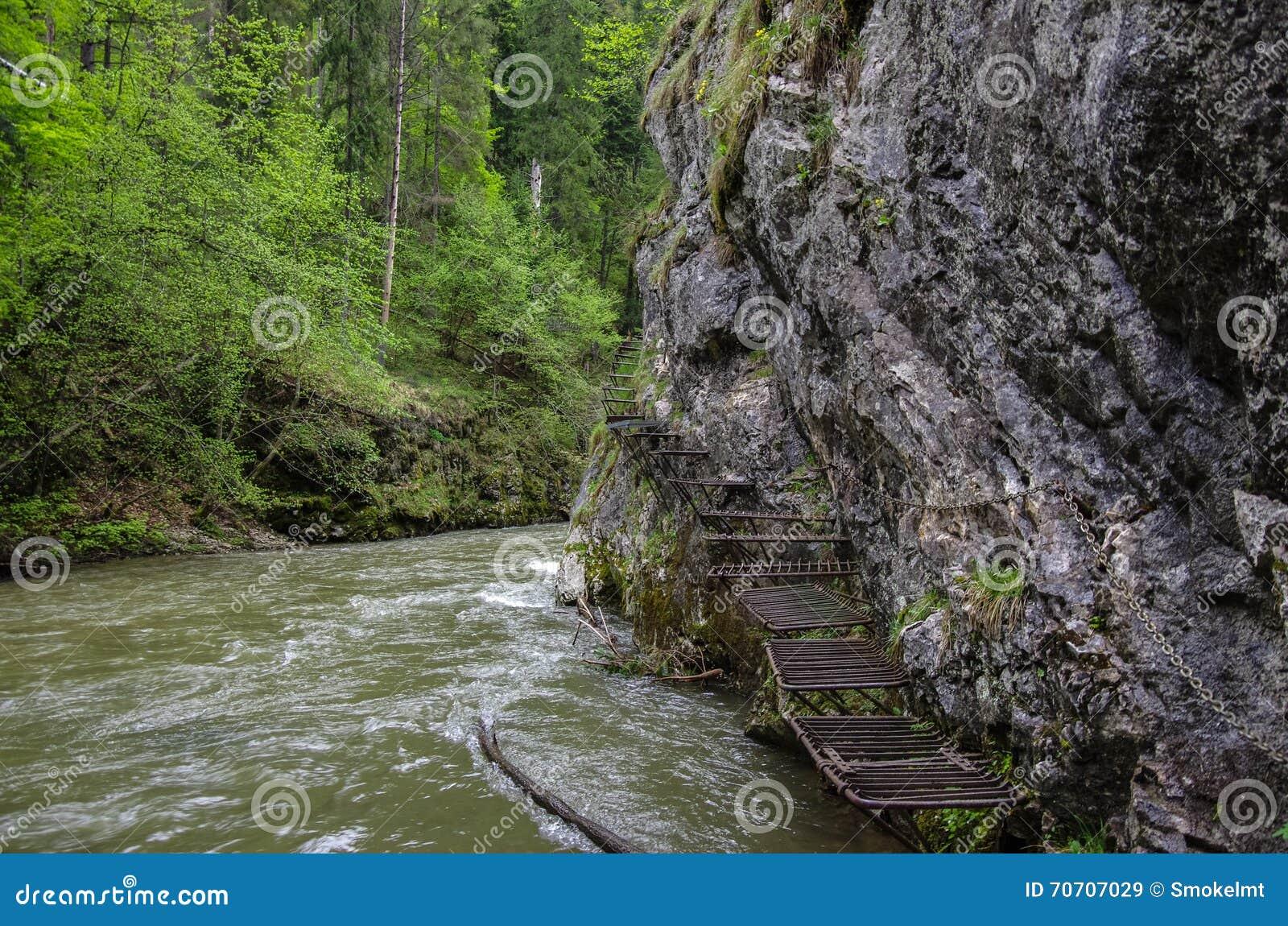 Gevaarlijke sleep langs de Hornad-rivier die (via Ferrata gebruiken), Slov