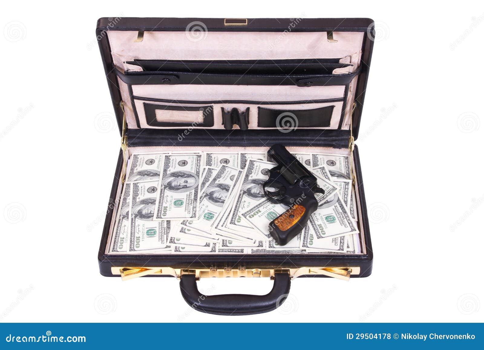Geval met geld en een revolver