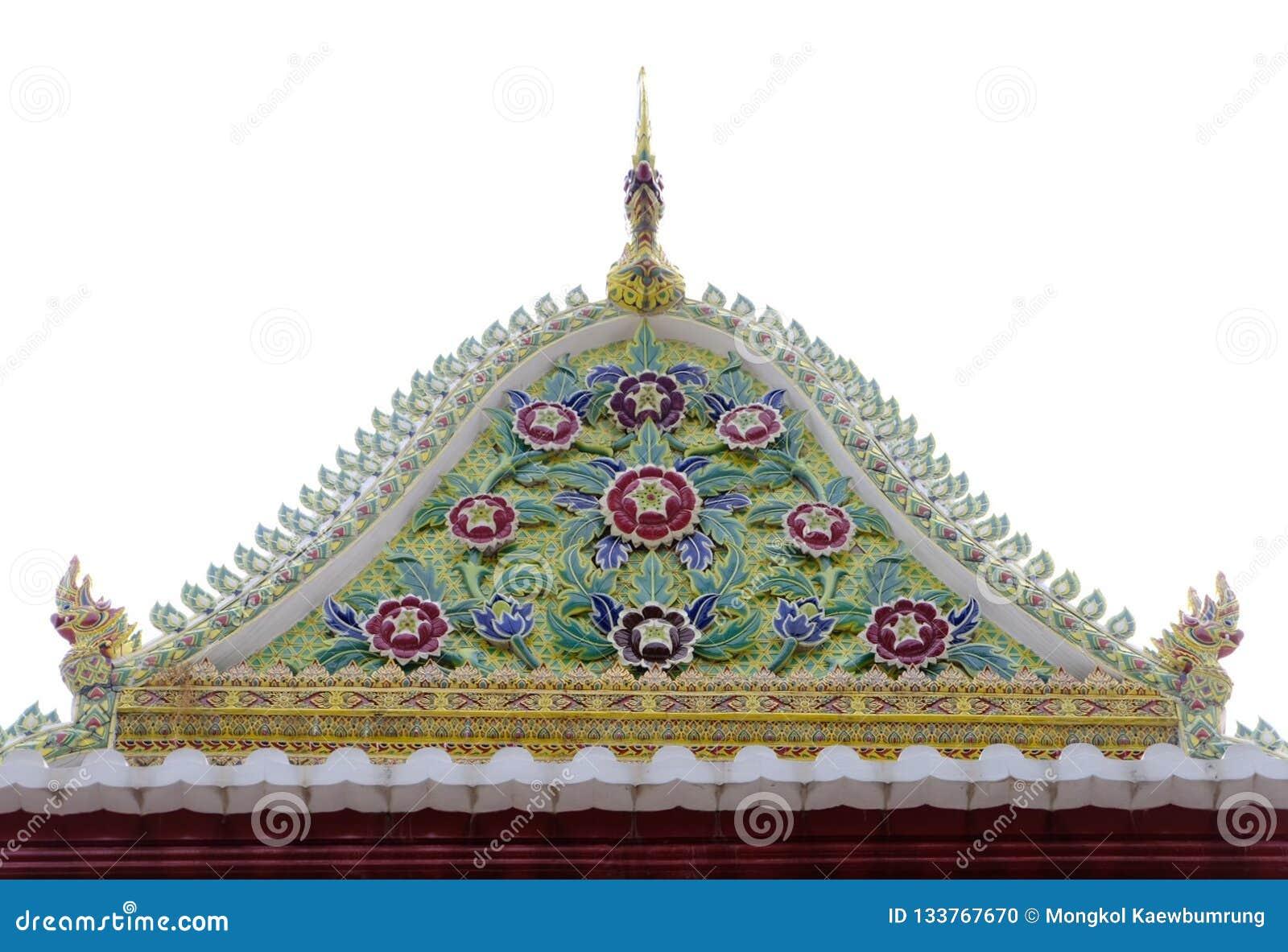 Geveltop van Thaise Koninklijke Ordeningszaal van Nonthaburi