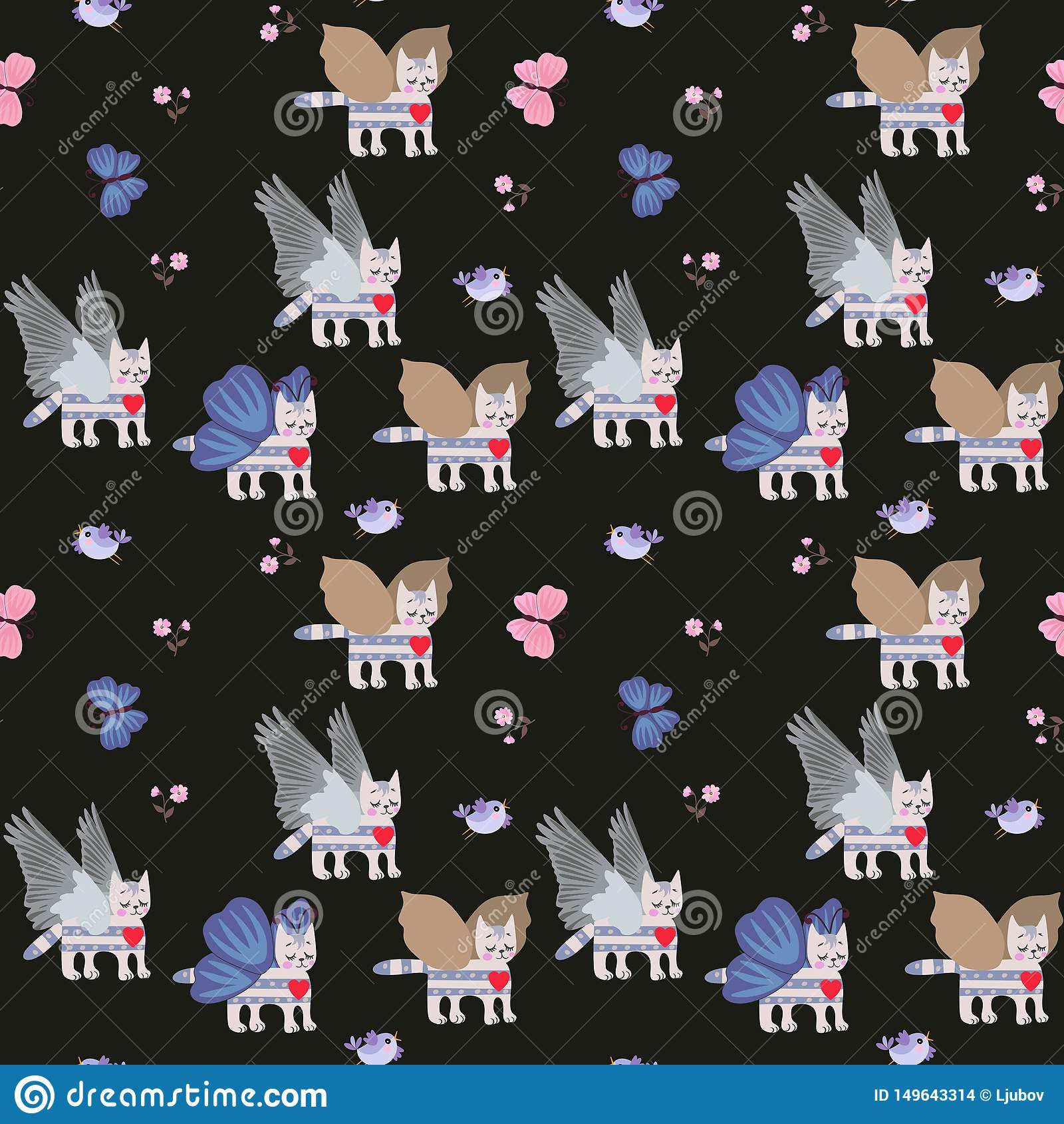Gevleugelde gestreepte katkatjes, kleine bloemen en blauwe vlinders op zwart naadloos patroon als achtergrond voor kinderen