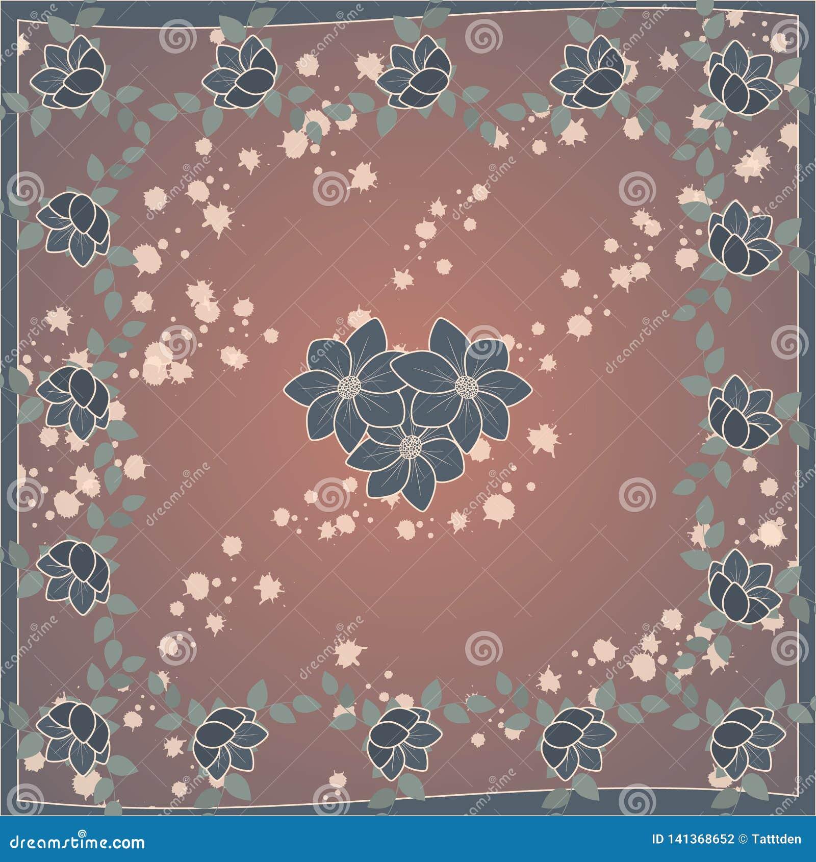 Gevoelig leuk sjaalpatroon met bloemen in in kleuren op bruine achtergrond Bloemendruk voor sjaal, textiel, dekking, oppervlakte,