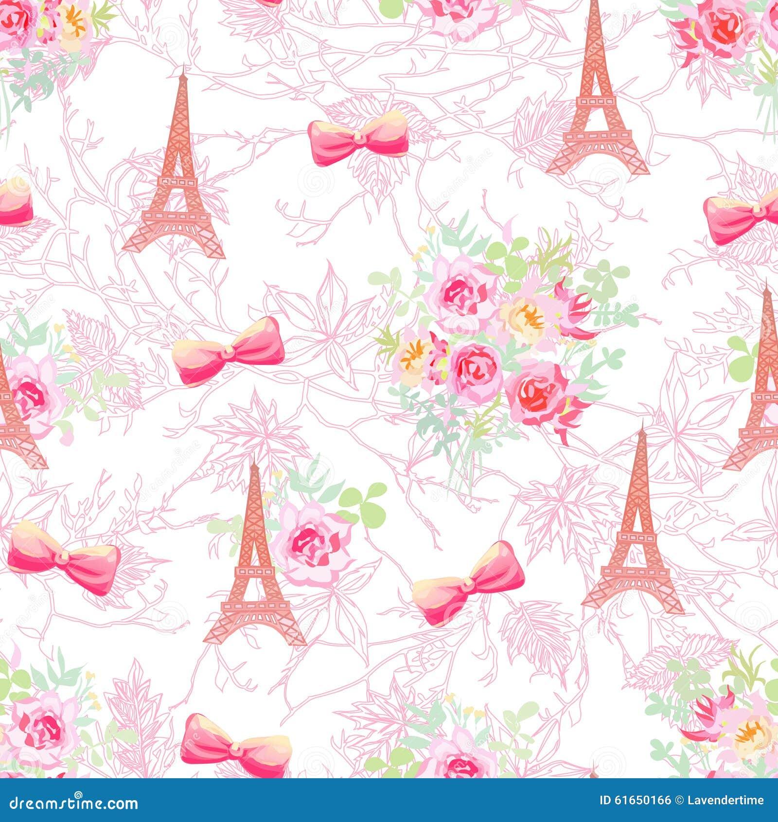 Gevoelige de torens en de boeketten naadloze vectordruk van eiffel vector illustratie - Parijs zoet ...